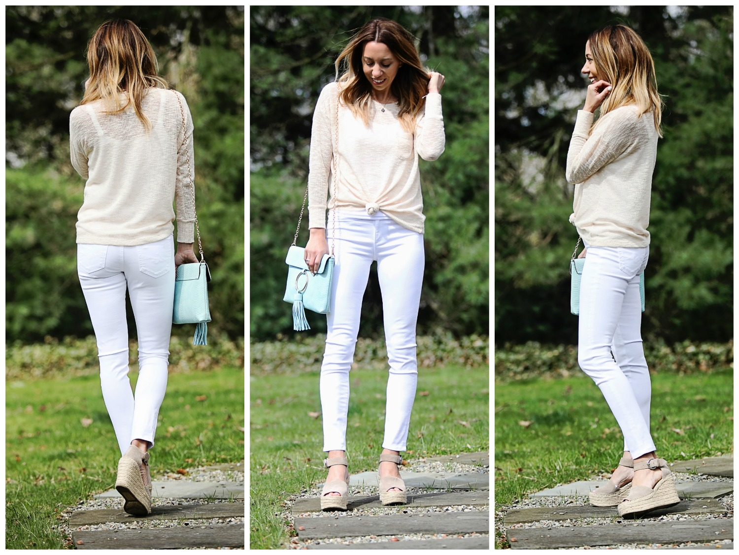The Motherchic wearing AG sateen jeans