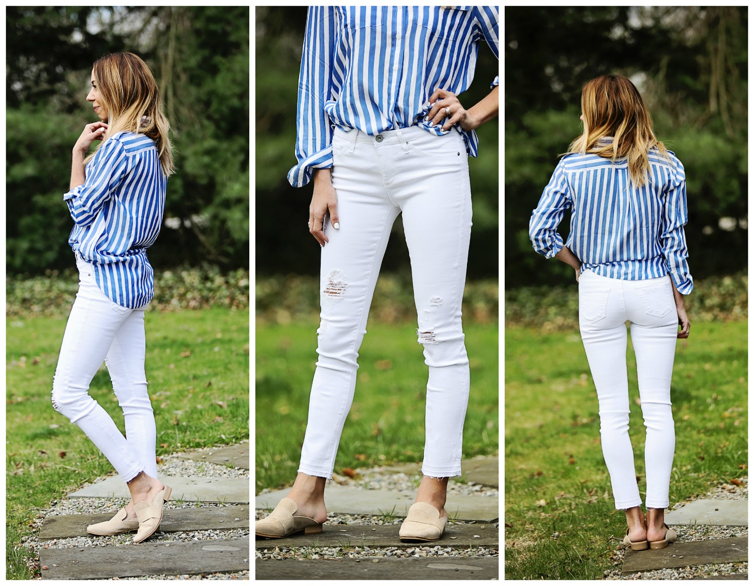 The Motherchic wearing AG distressed jeans