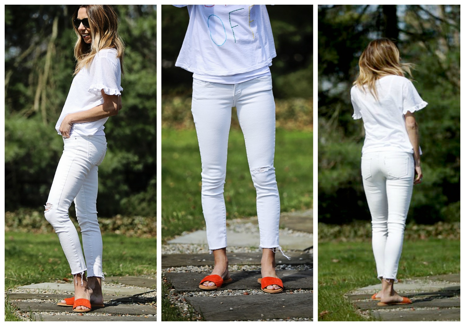 The Motherchic wearing white jeans by Levi's