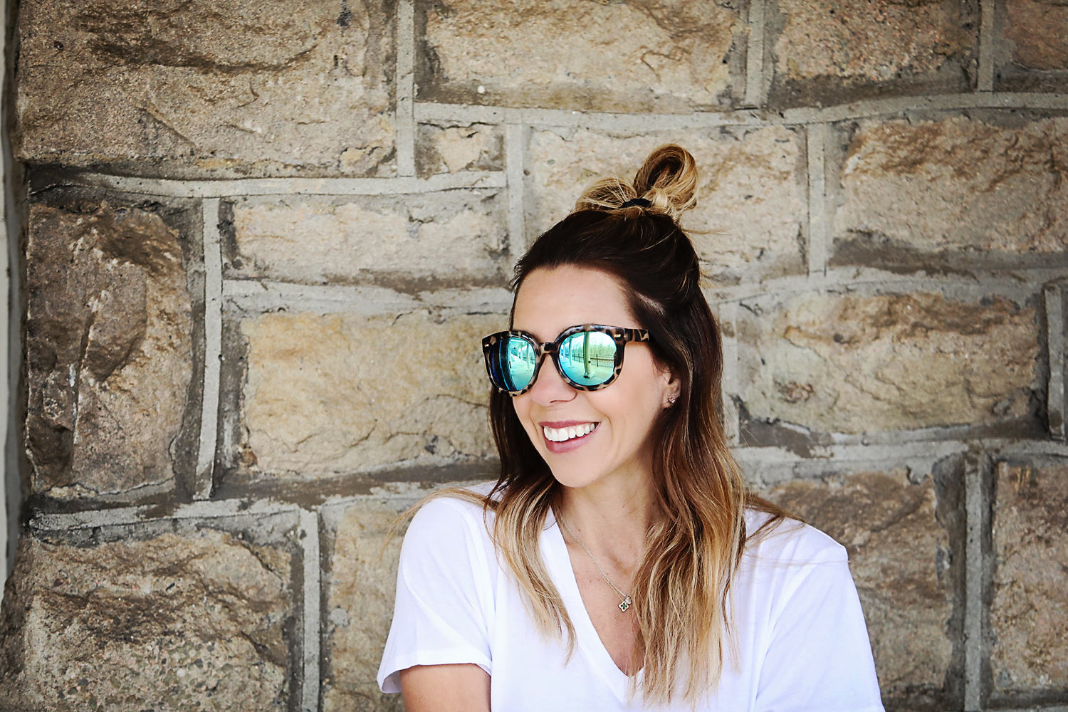 The Motherchic wearing BP oversized mirrored sunglasses