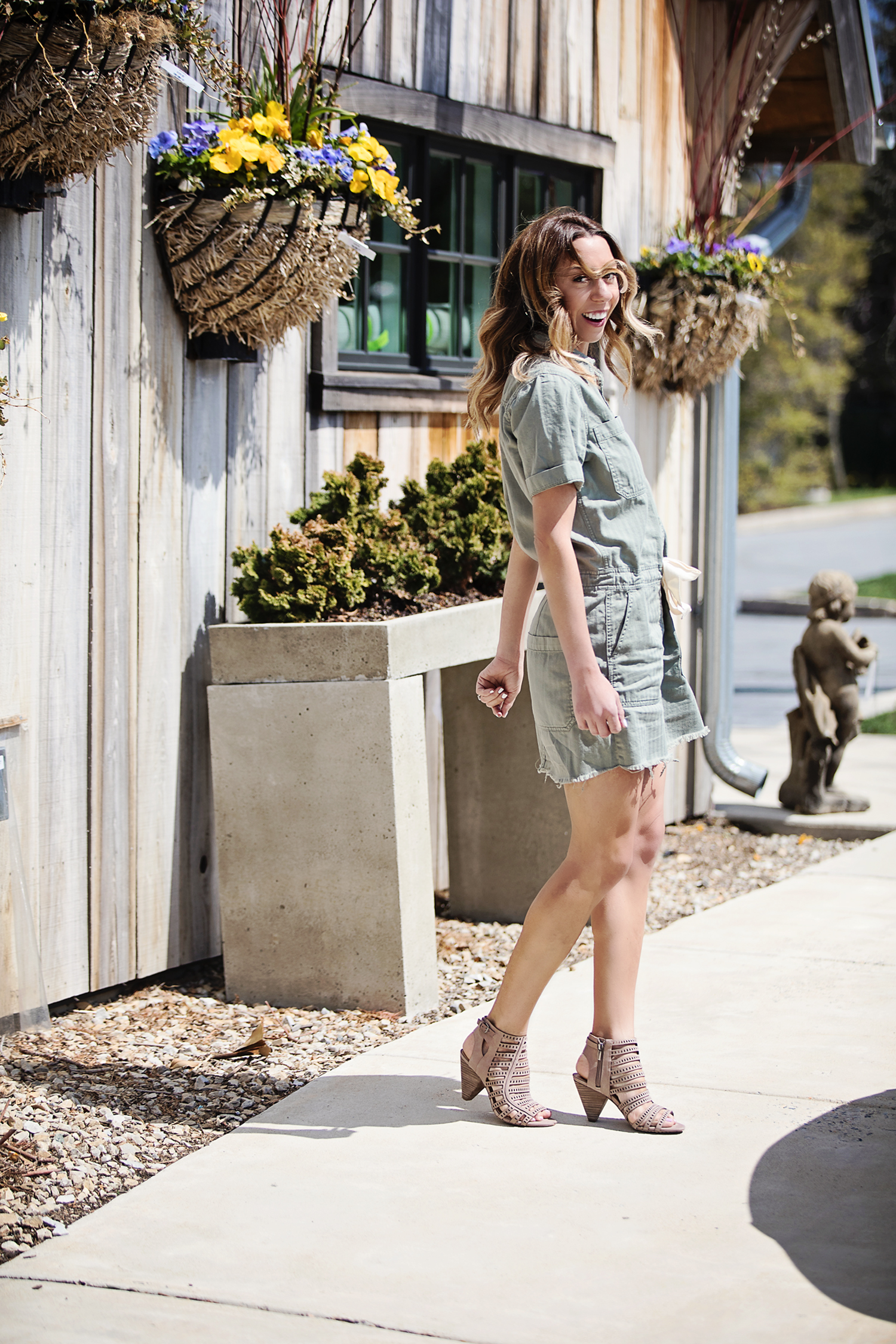 The Motherchic wearing Lucky Brand drawstring dress