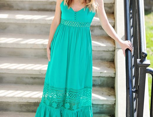 The Motherchic wearing BB Dakota Maxi dress