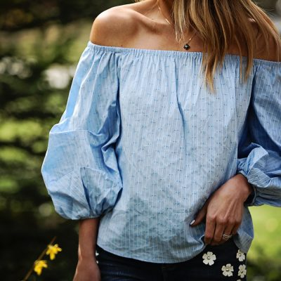 Embellished Denim and Off-The-Shoulder Tops