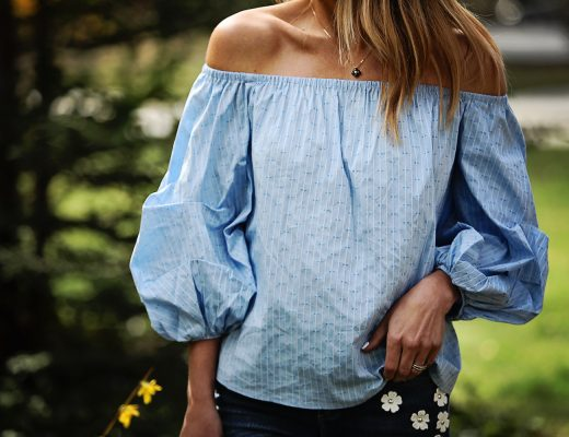 The Motherchic wearing CeCe off the shoulder top