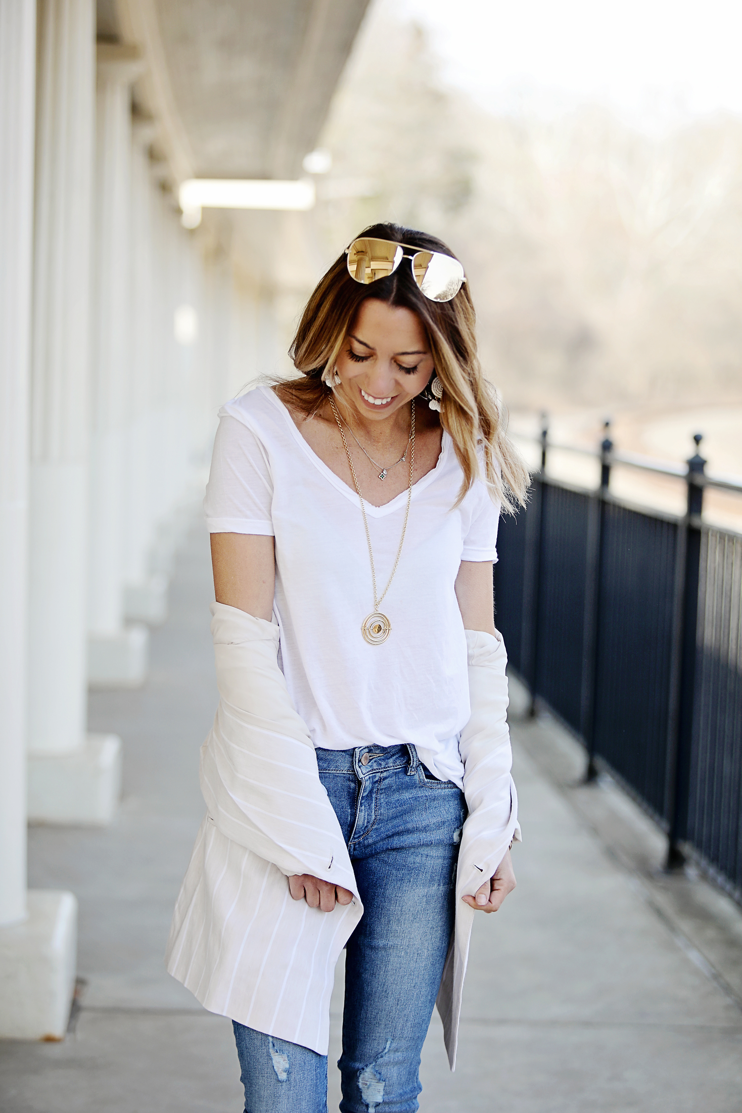The Motherchic wearing fresh spring neutrals
