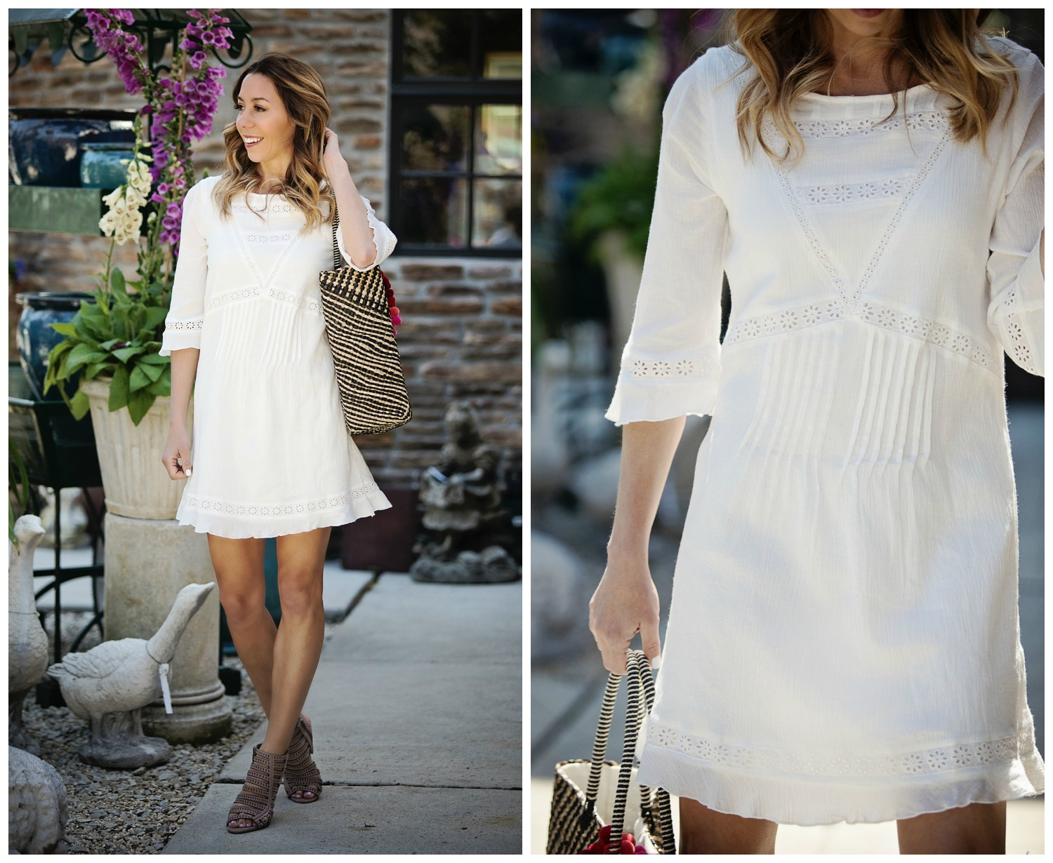 The Motherchic wearing white sanctuary dress