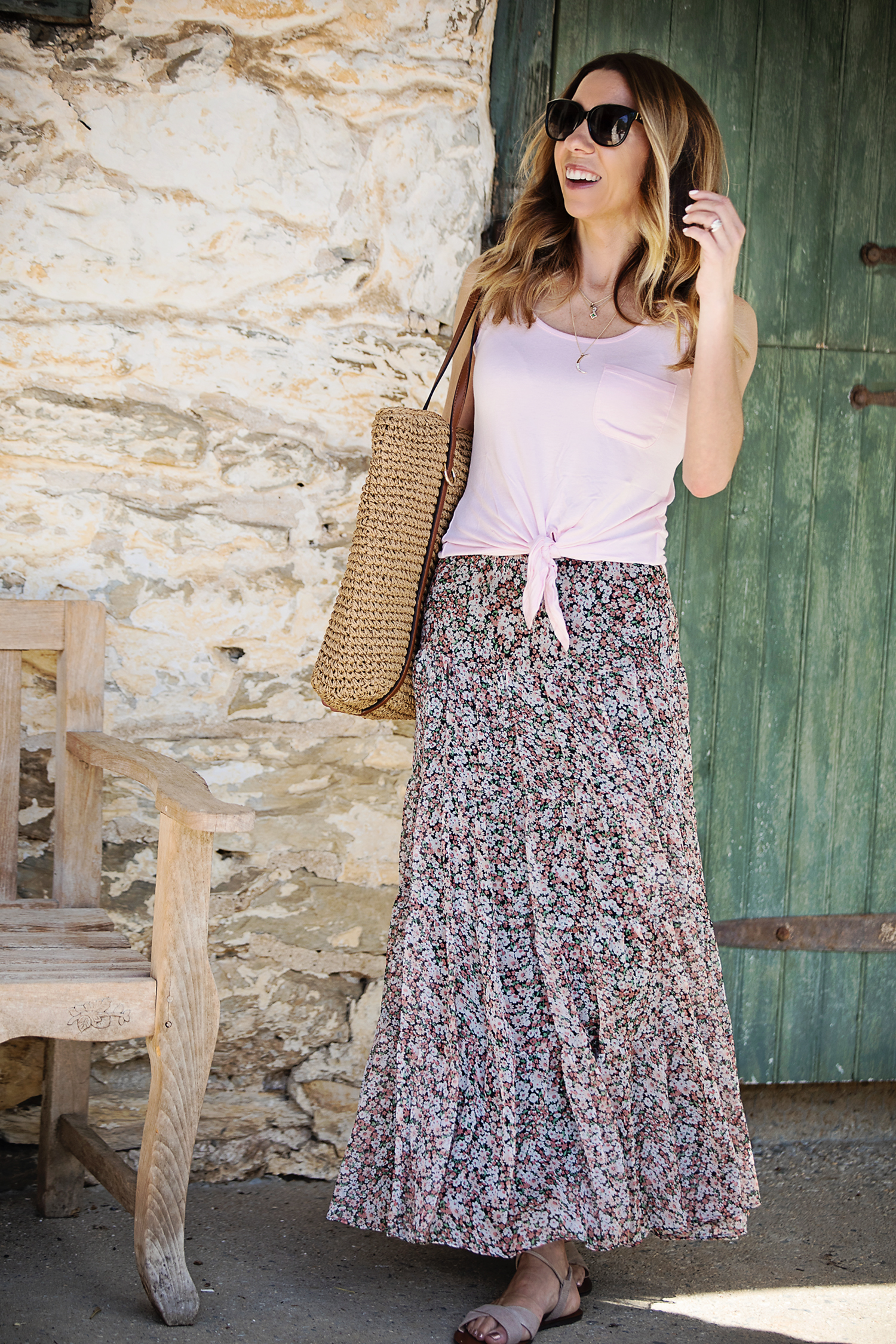 The motherchic wearing floral maxi skirt from Macy's