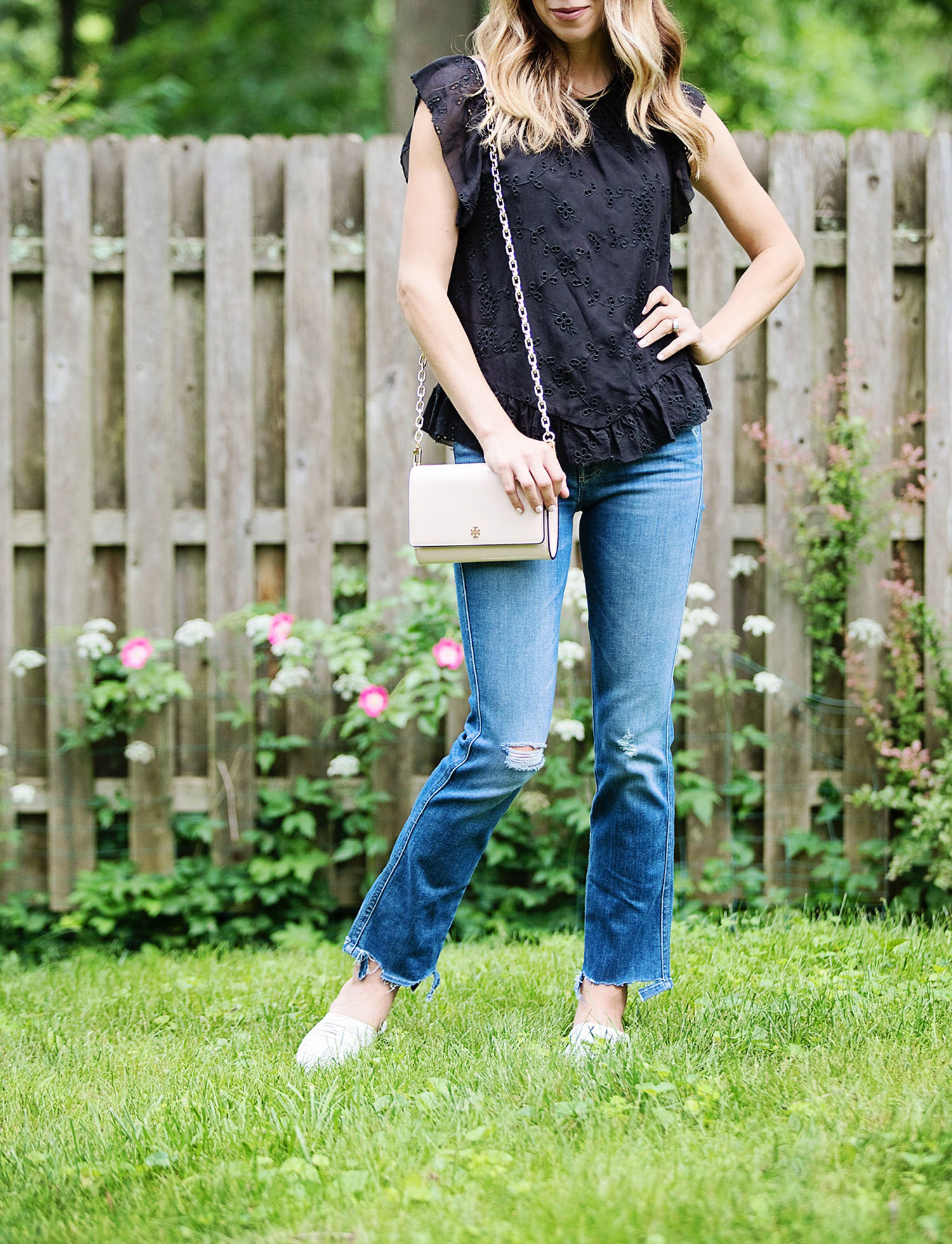 The Motherchic wearing joie top and mother jeans from Saks