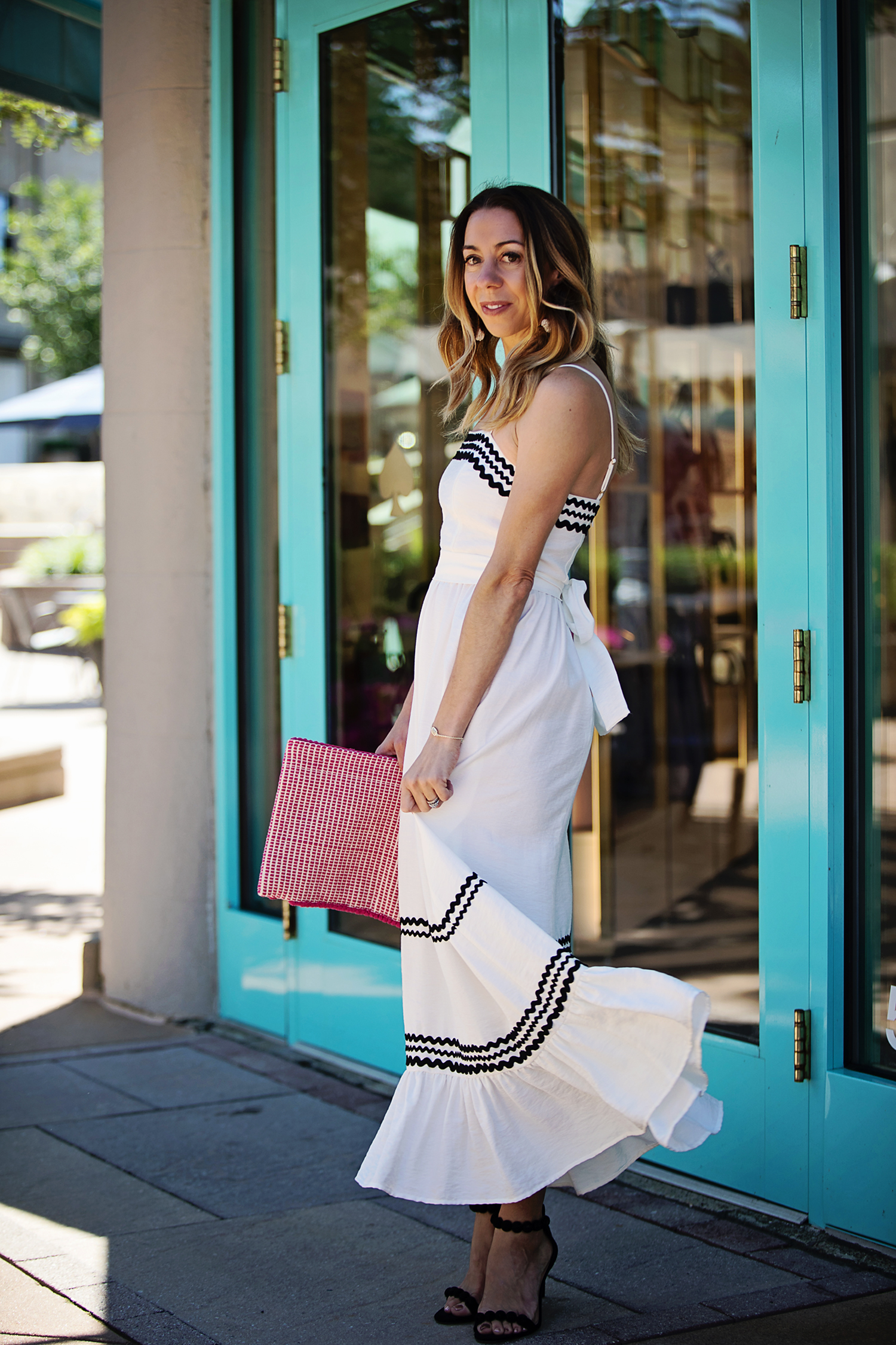 The Motherchic wearing striped cece maxi dress