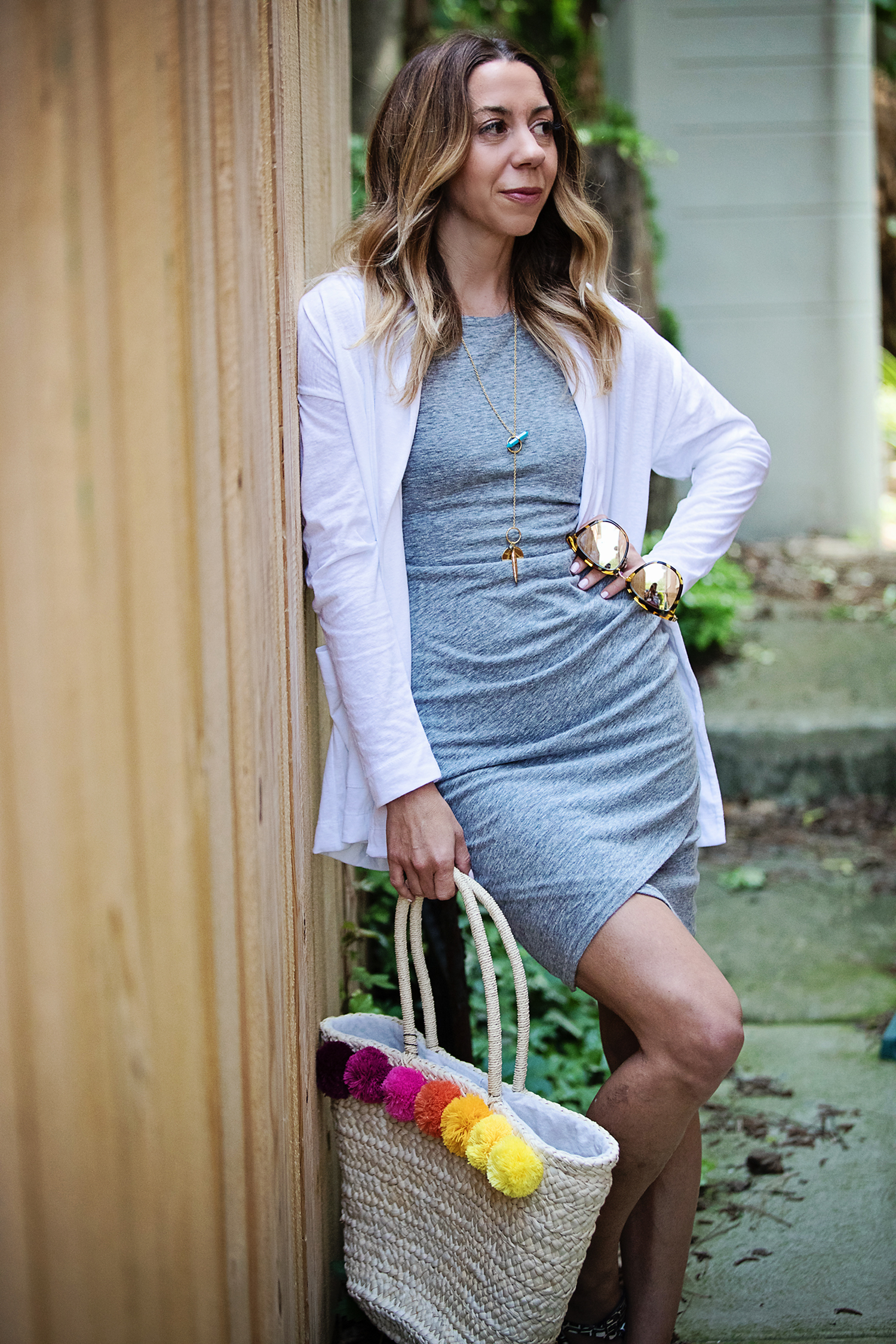 The Motherchic wearing leith dress and summer layers