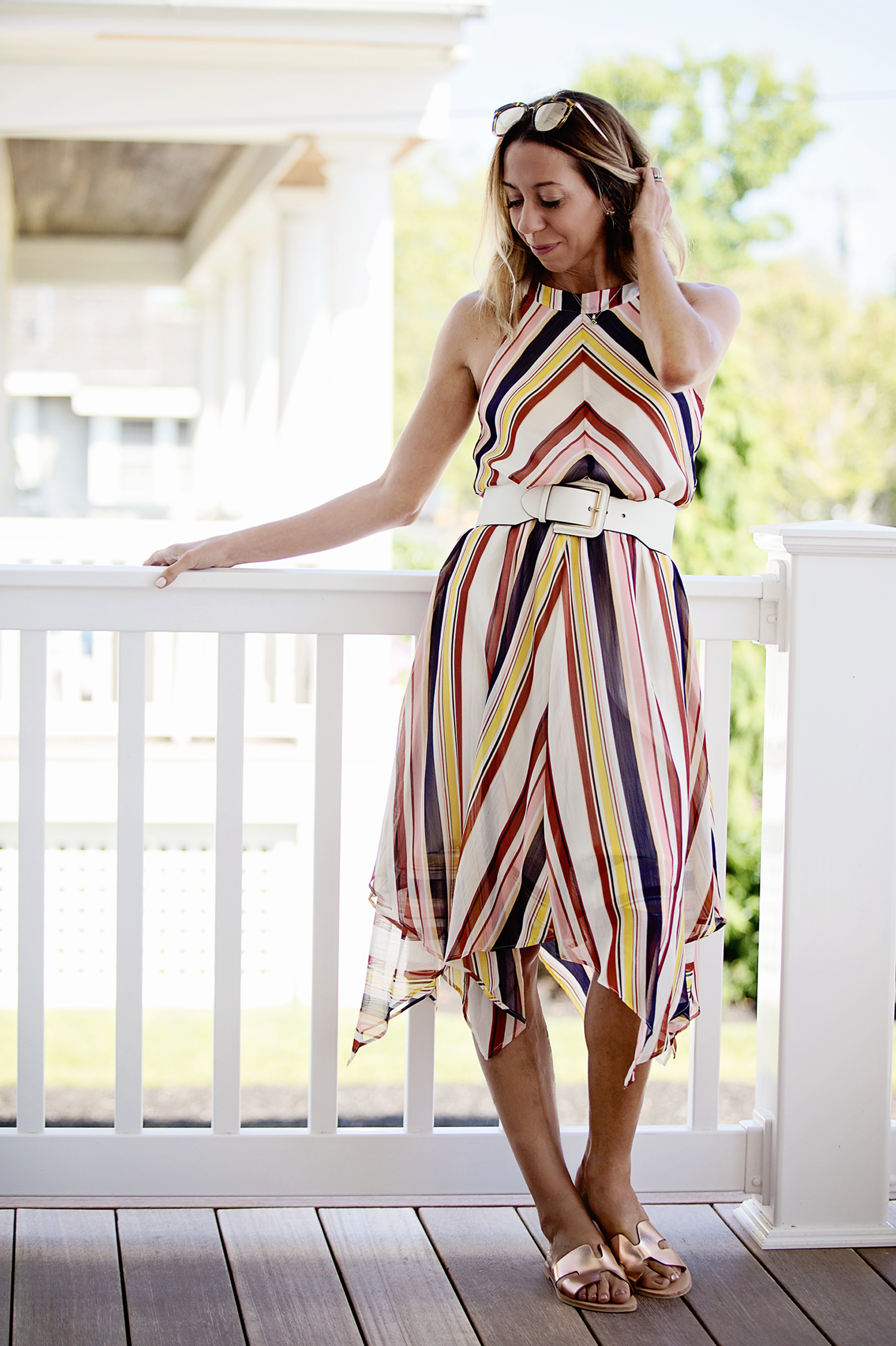 The Motherchic wearing striped sanctuary dress