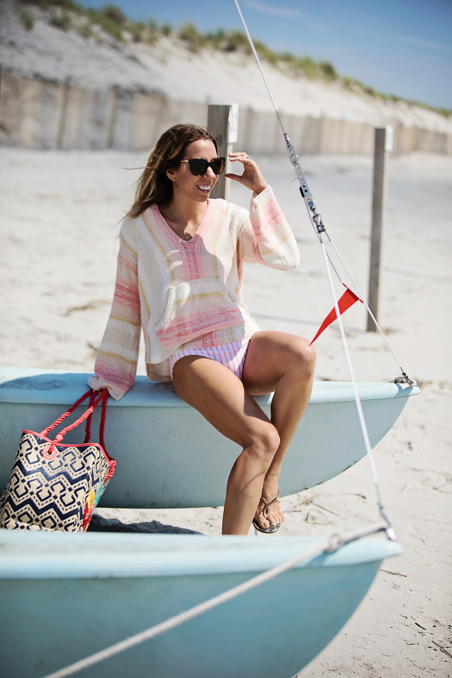 The Motherchic wearing summer stripes billabong hoodie