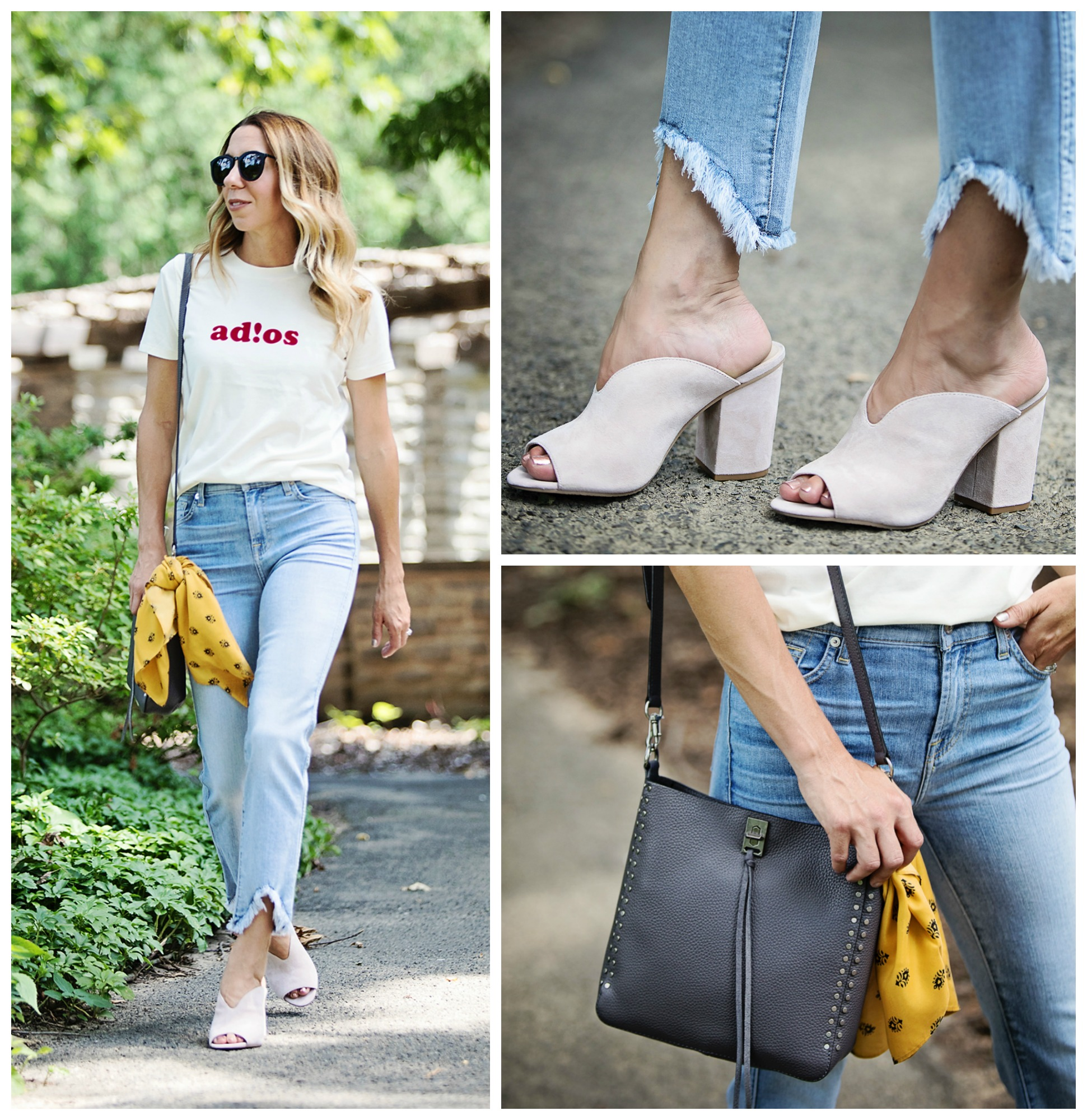 The motherchic wearing nordstrom anniversary sale jeans and shoes