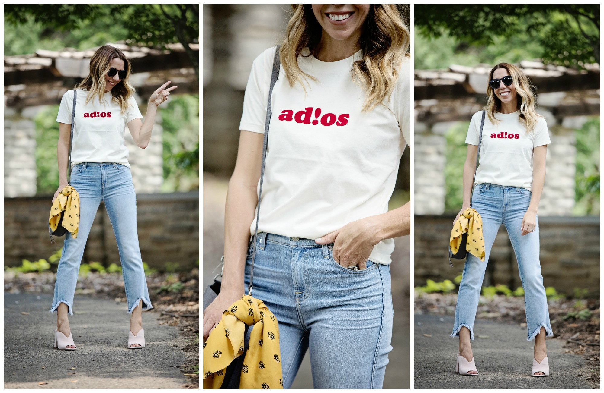 The Motherchic wearing nordstrom anniversary sale madewell tee and 7 jeans