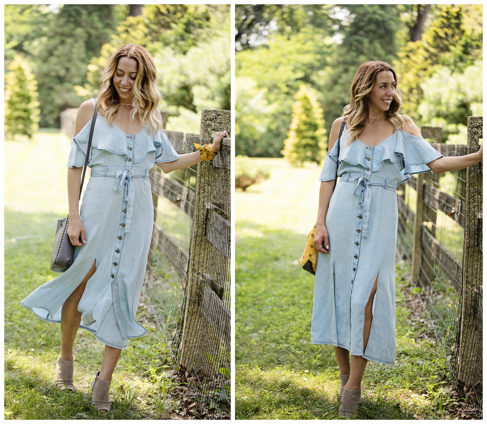 The Motherchic wearing BB dakota chambray dress