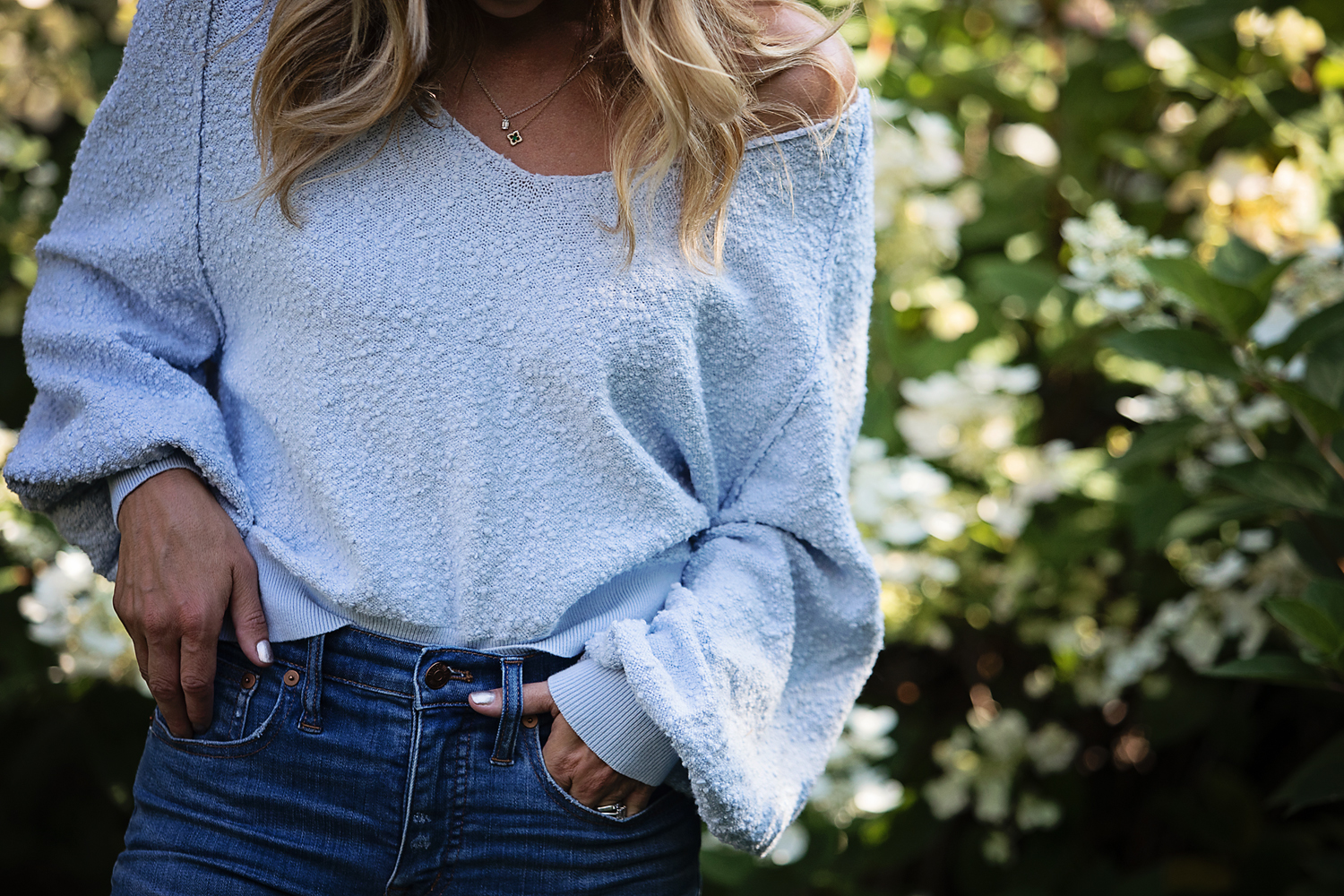 The motherchic wearing nordstrom anniversary sale sweater
