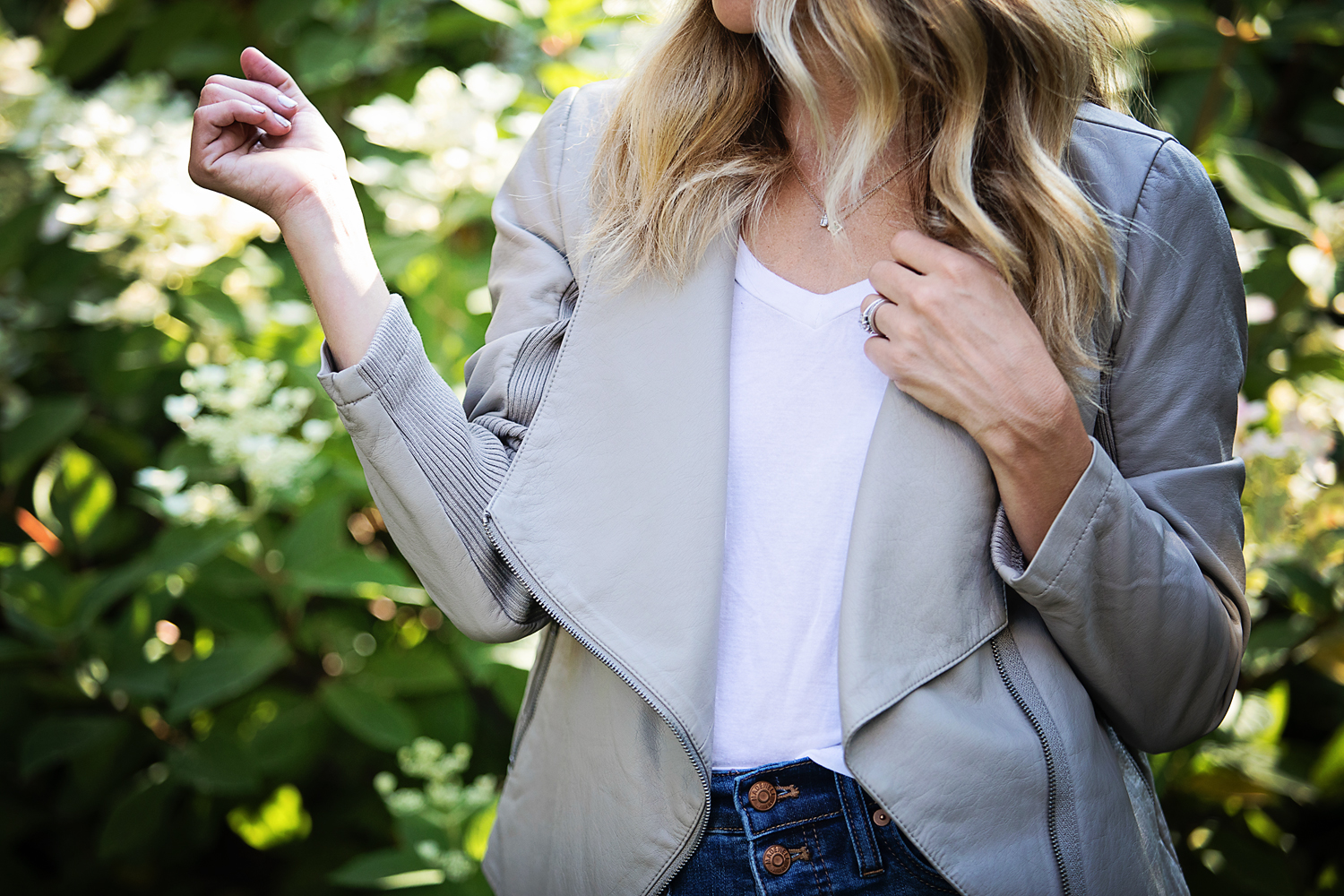 The motherchic wearing leather jacket from nordstrom anniversary sale