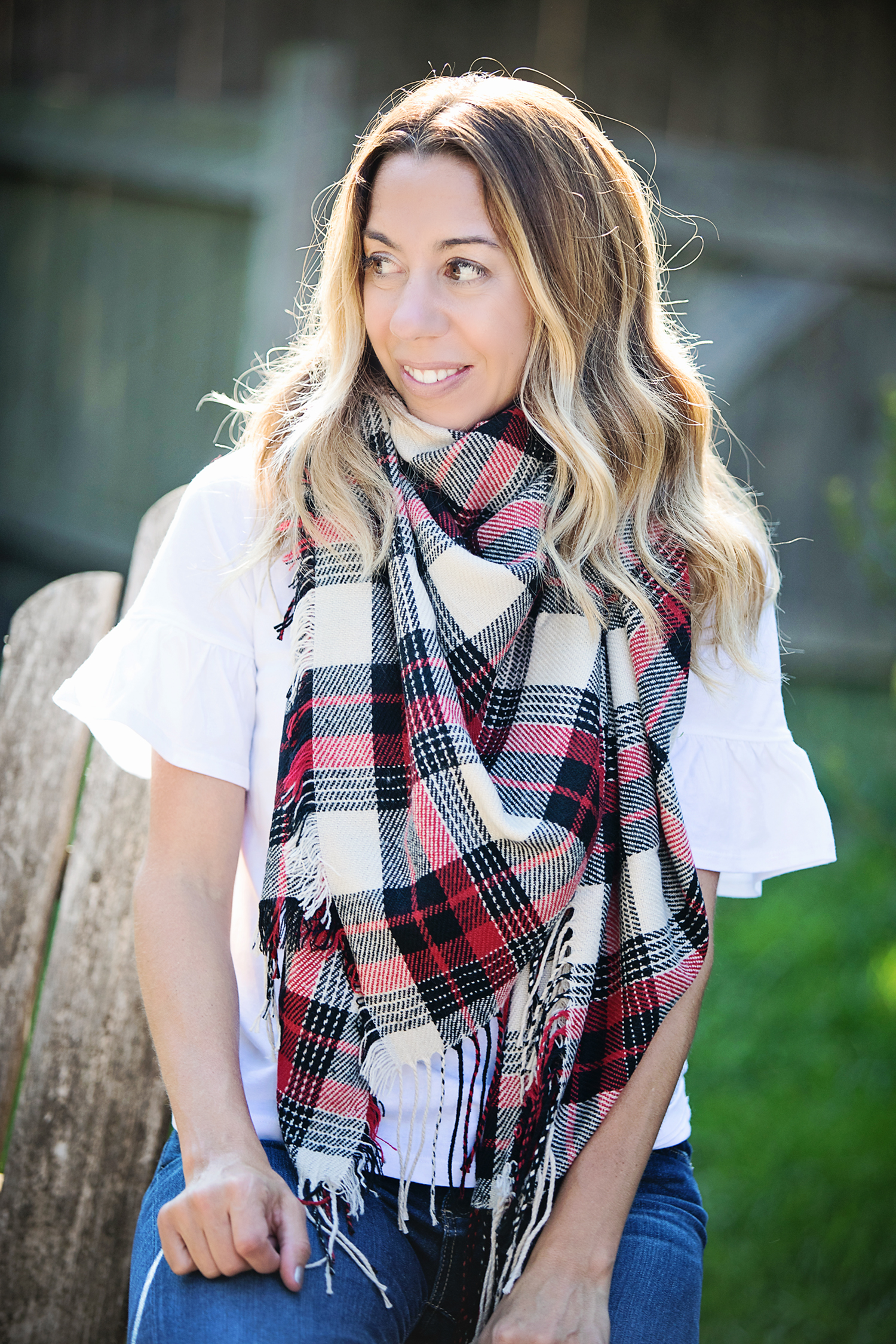 The motherchic wearing madewell scarf from the nordstrom anniversary sale