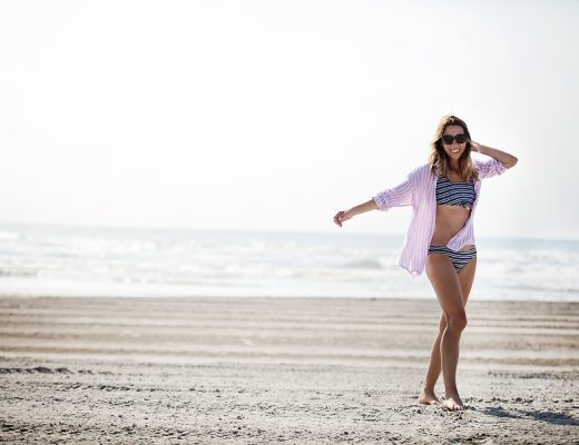 The Motherchic wearing rails button down over bikini
