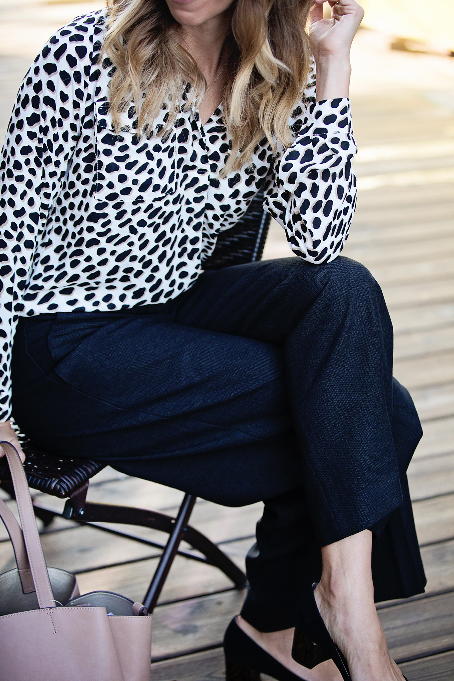 The motherchic wearing ann taylor animal print top and wide leg pants