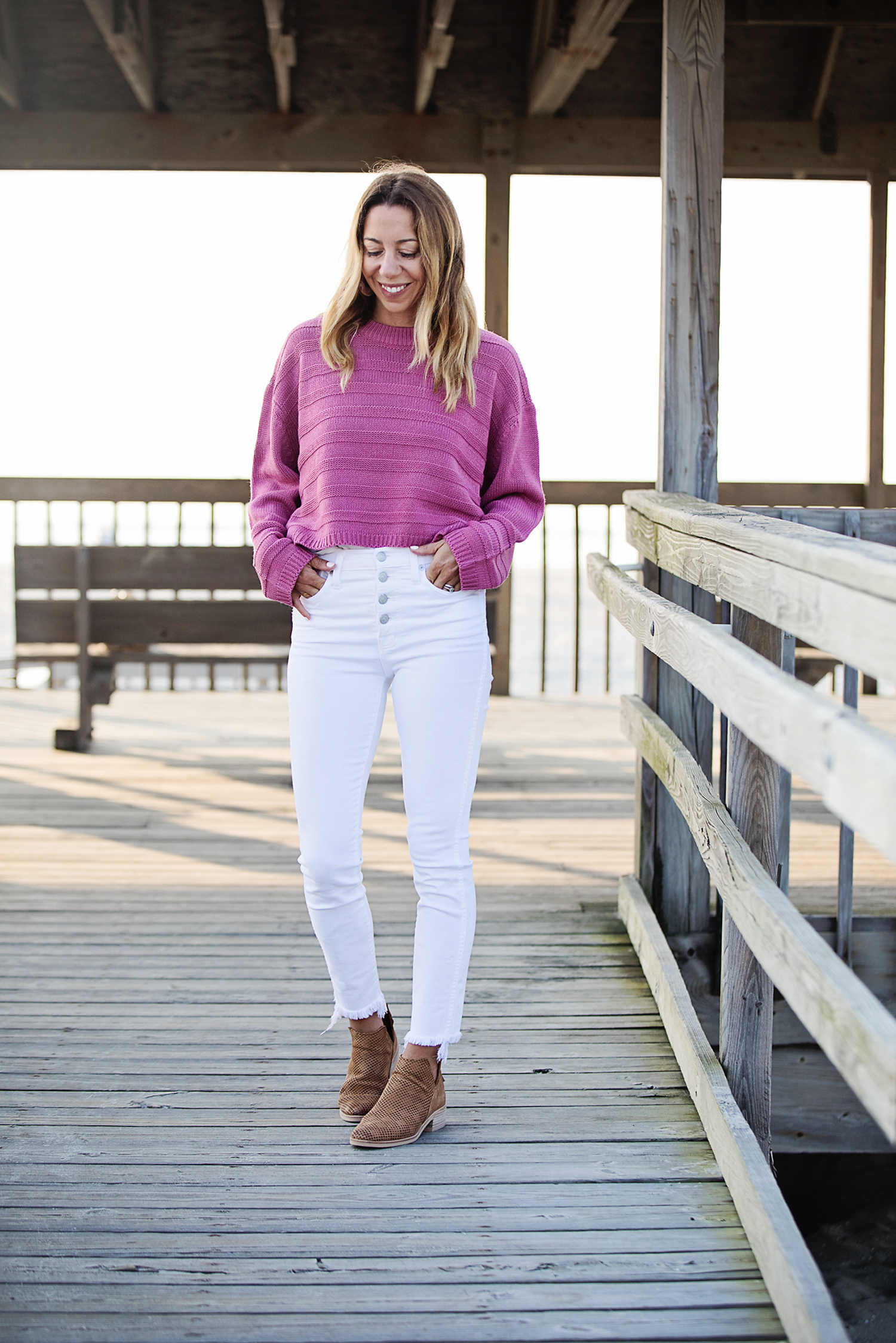 The motherchic wearing topshop sweater and madewell jeans