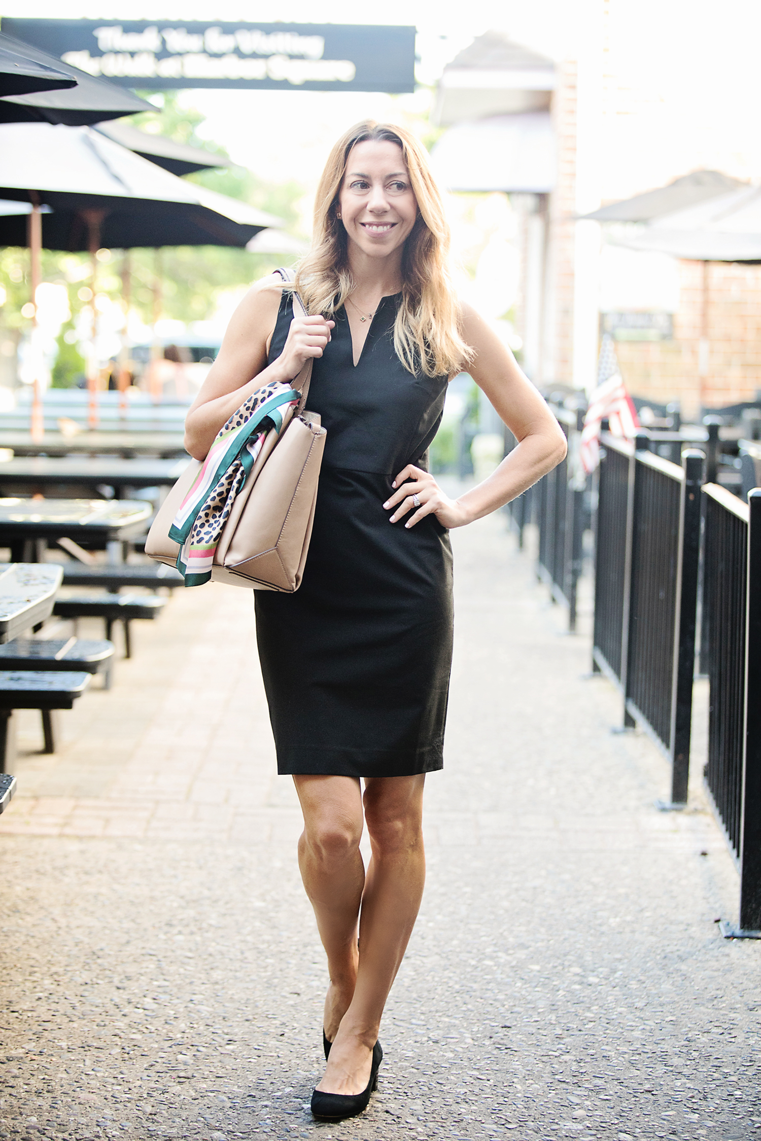 The motherchic wearing ann taylor sheath dress
