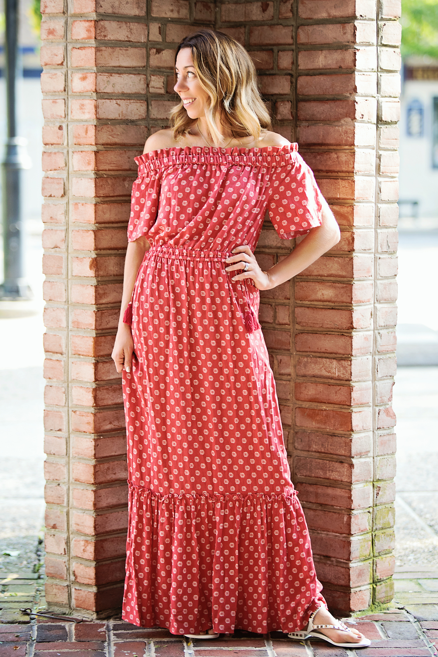 the motherchic wearing 1.state maxi dress