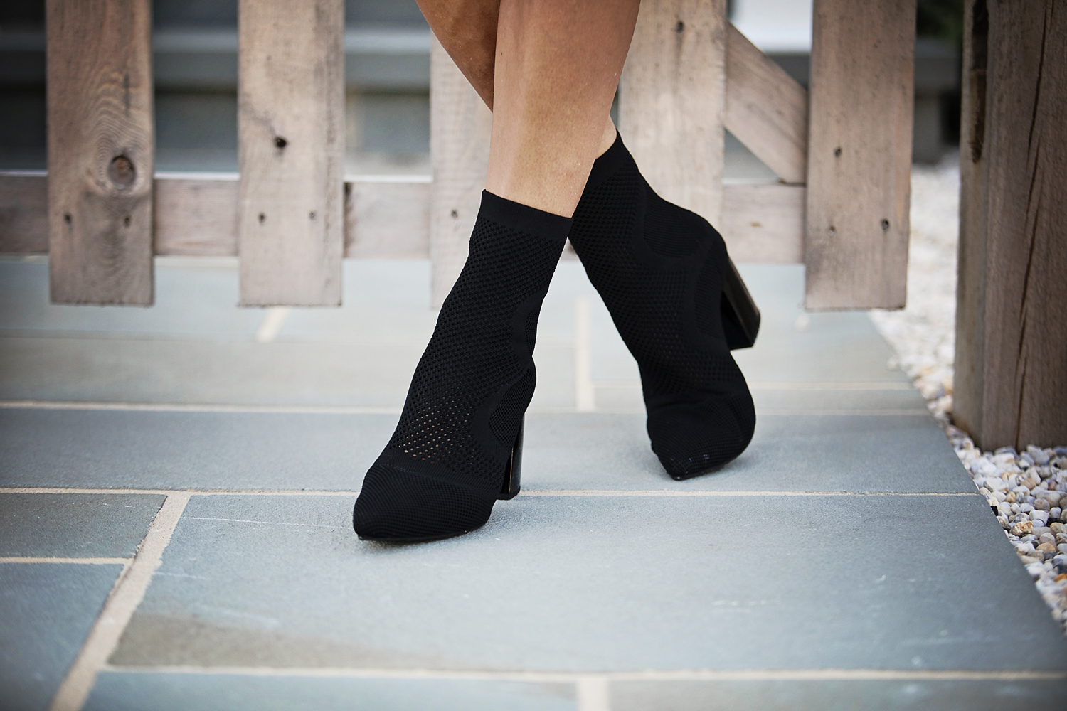 The motherchic wearing jeffrey campbell sock booties