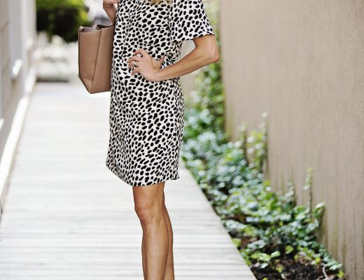 The motherchic wearing ann taylor animal print dress