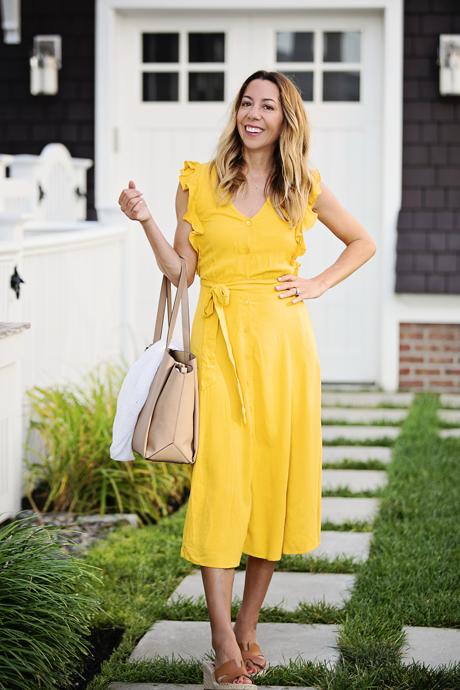 The motherchic wearing yellow 1.state dress from macy's