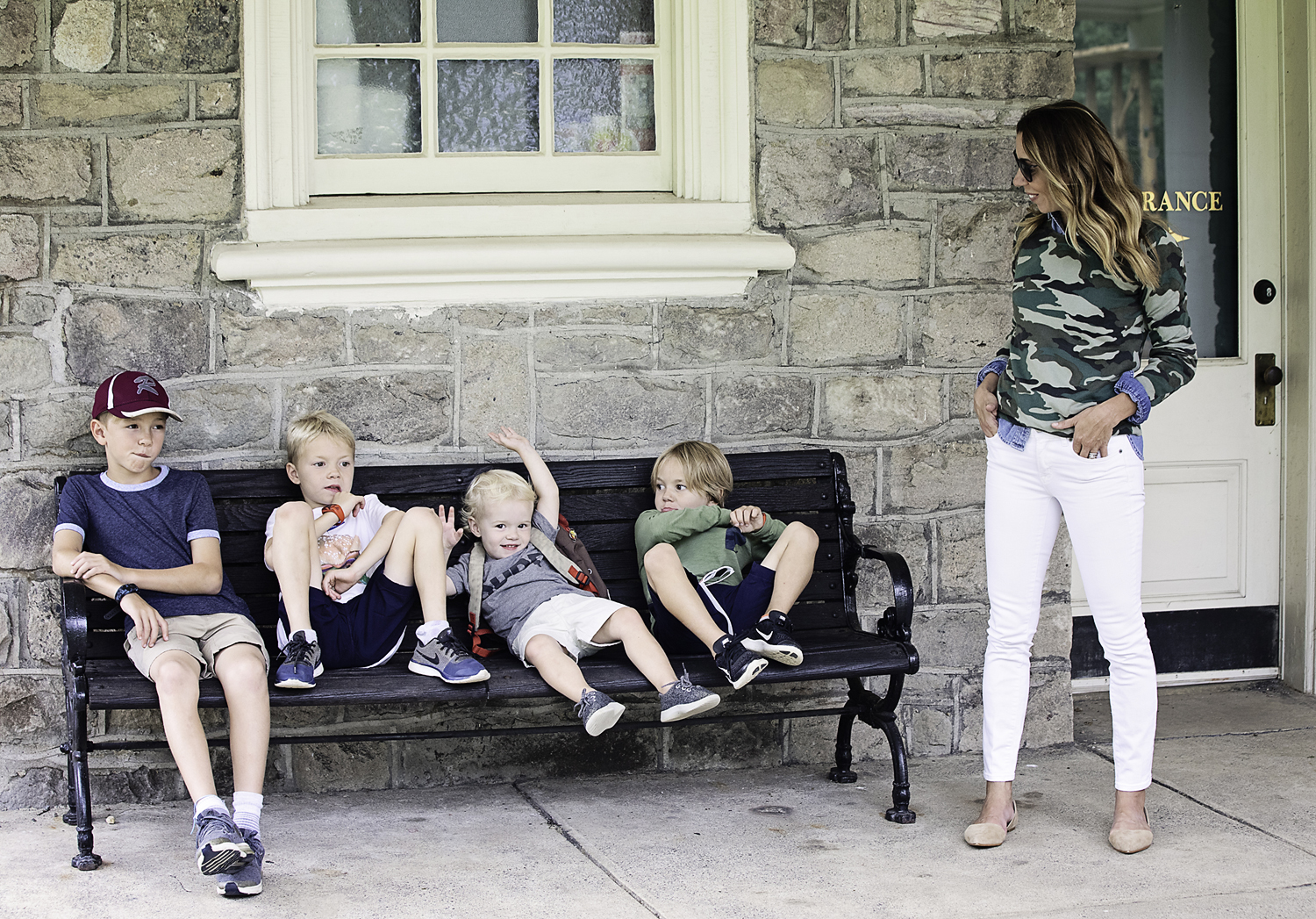 The Motherchic family wearing J.Crew factory back to school outfits
