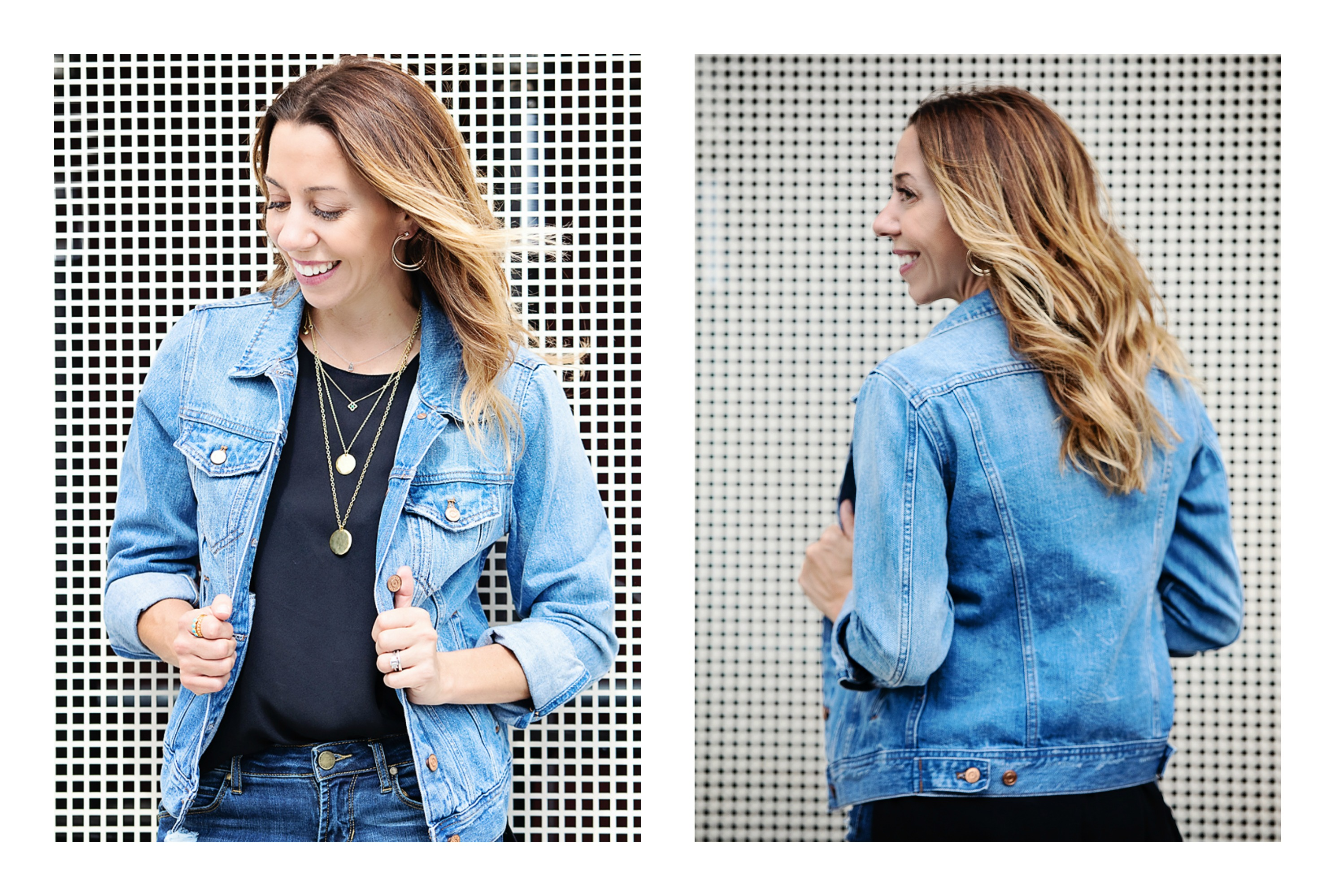 the motherchic wearing jean denim jacket
