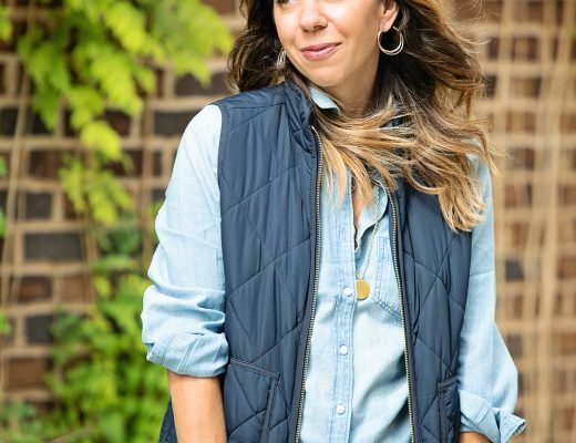 The Motherchic wearing j.crew mercantile quilted vest on amazon