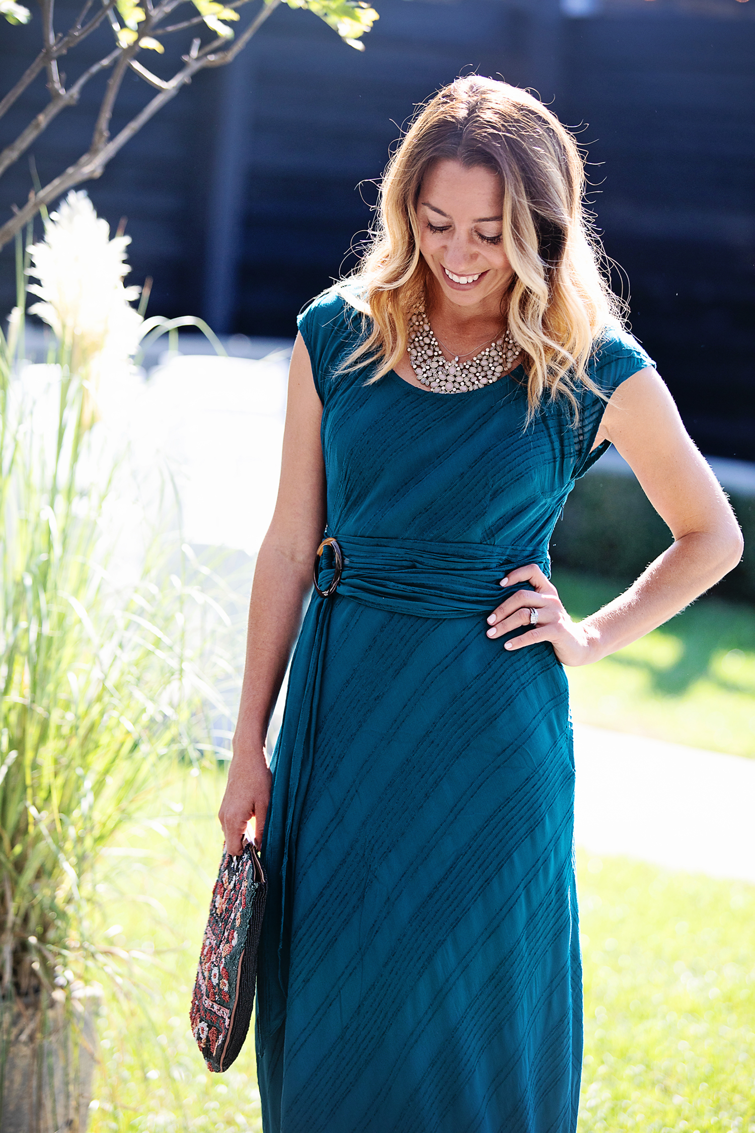 the motherchic wearing anthropologie dress