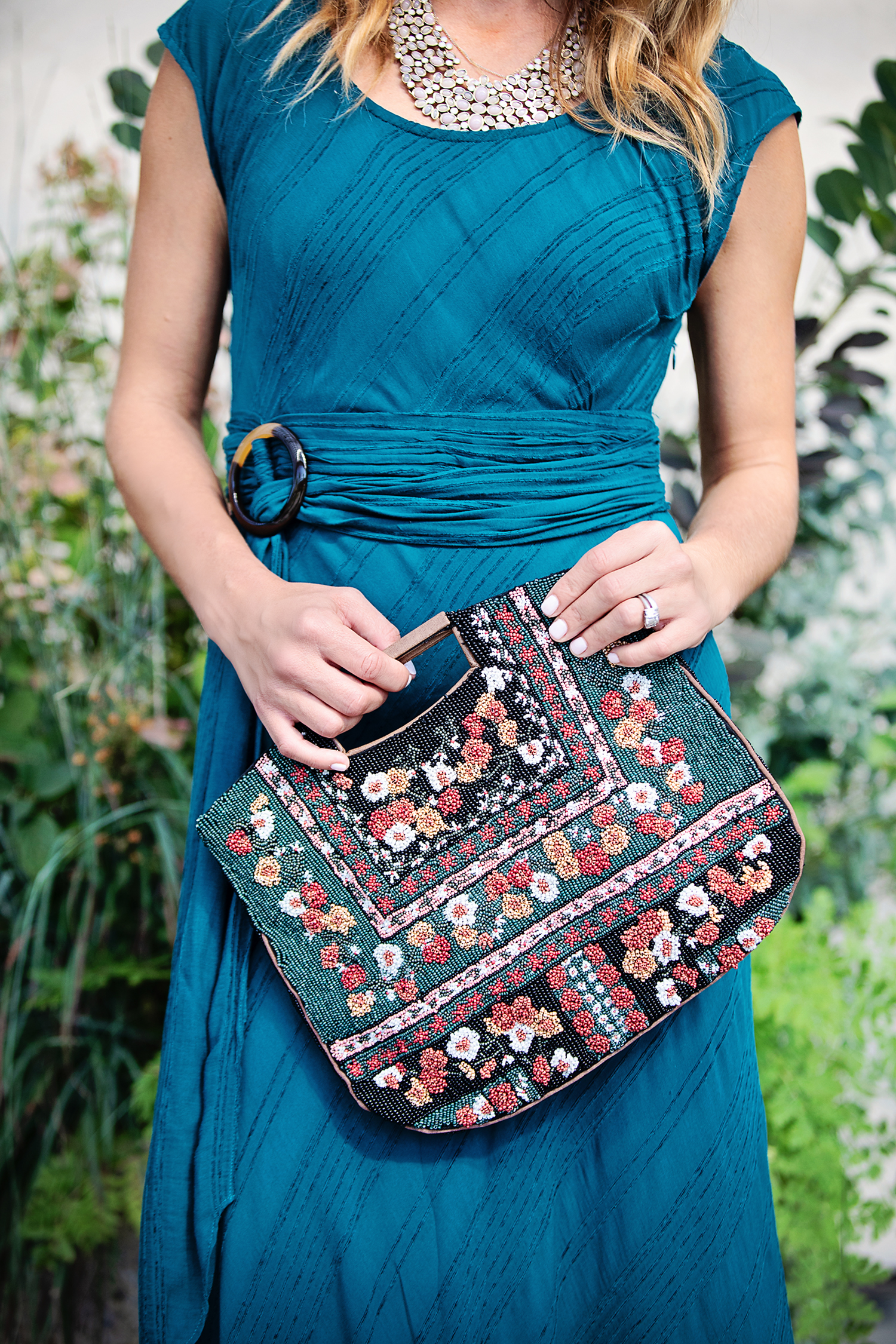 the motherchic wearing anthropologie beaded bag