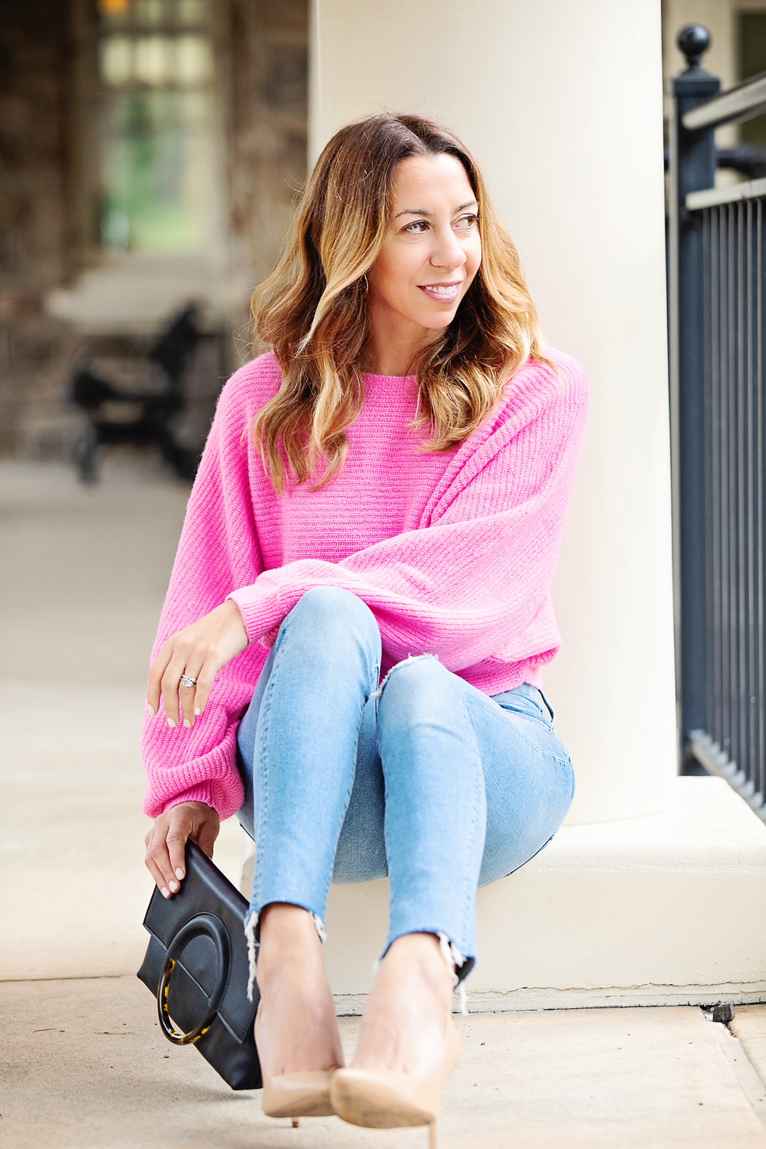 The Motherchic wearing date night sweaters from nordstrom