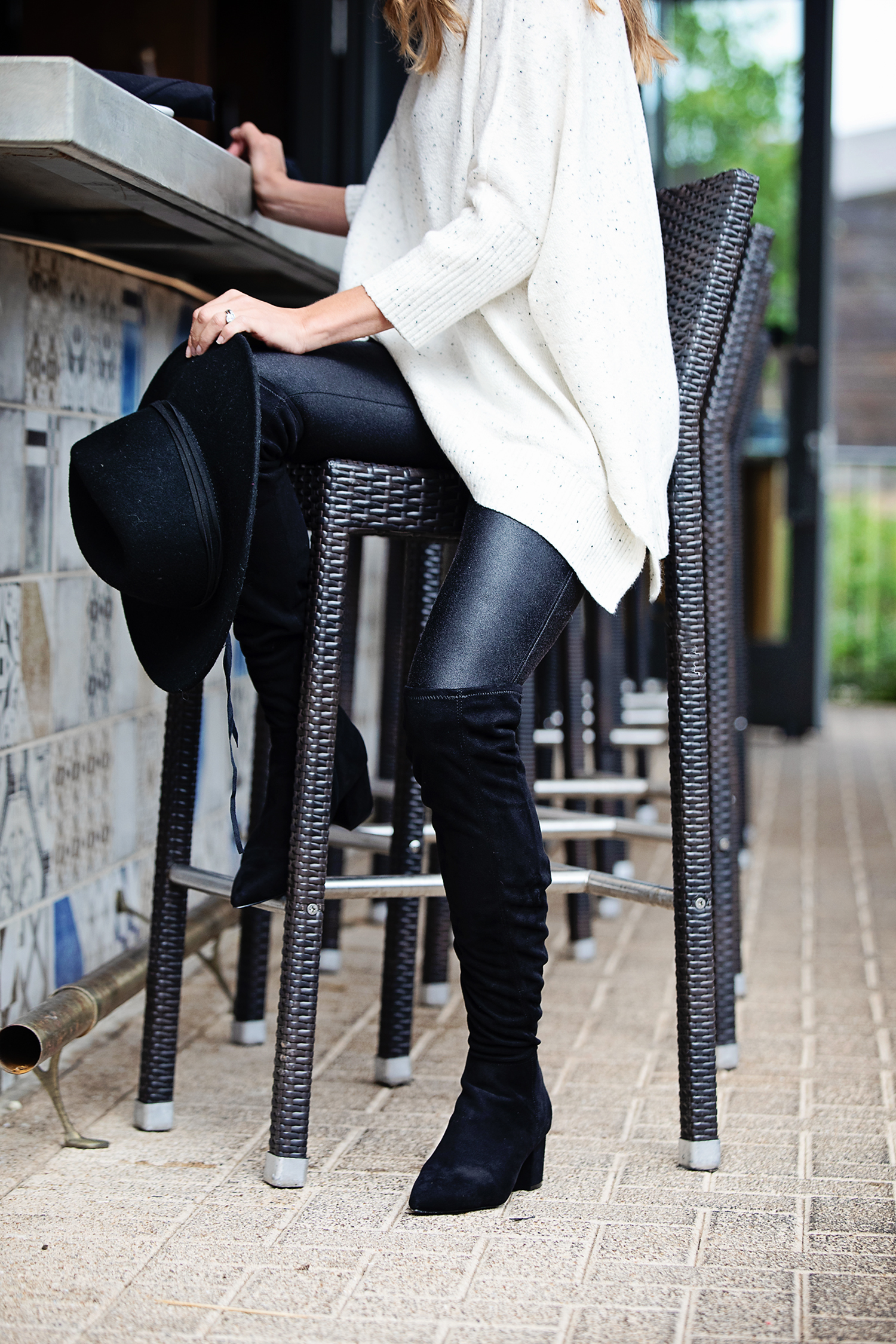 c892b92a the motherchic wearing leather leggings and poncho ...