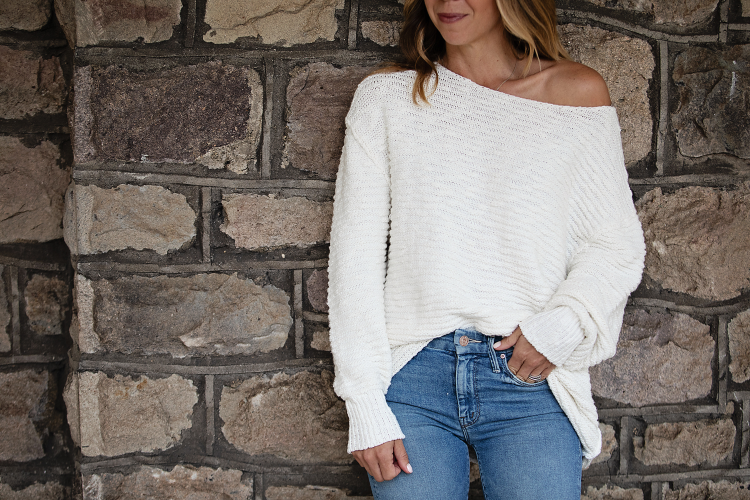 The Motherchic wearing free people sweaters from nordstrom
