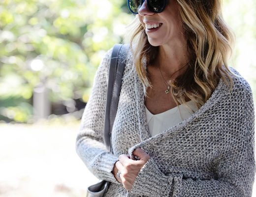The Motherchic wearing sanctuary cardigan