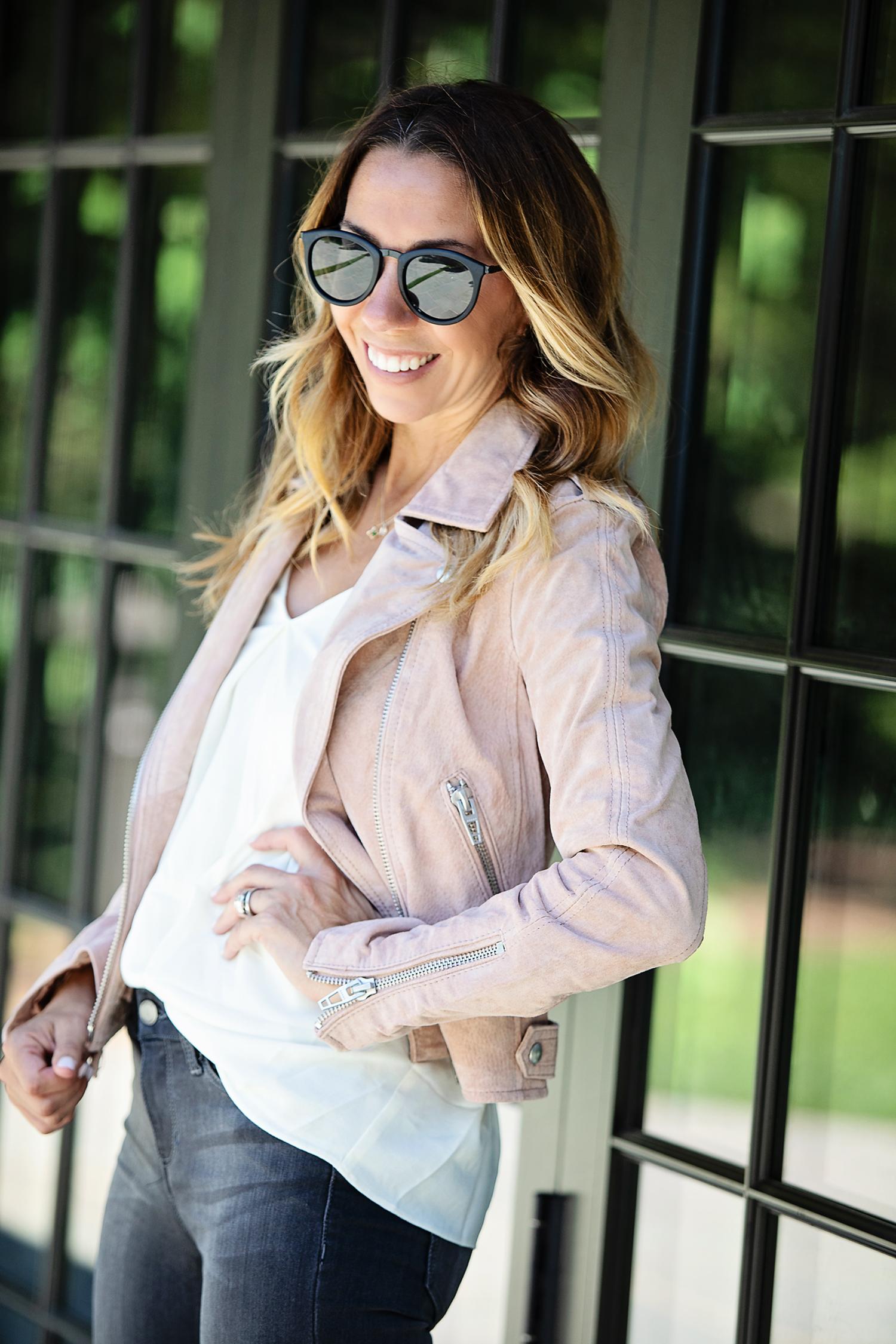 The Motherchic wearing blanknyc suede moto jacket