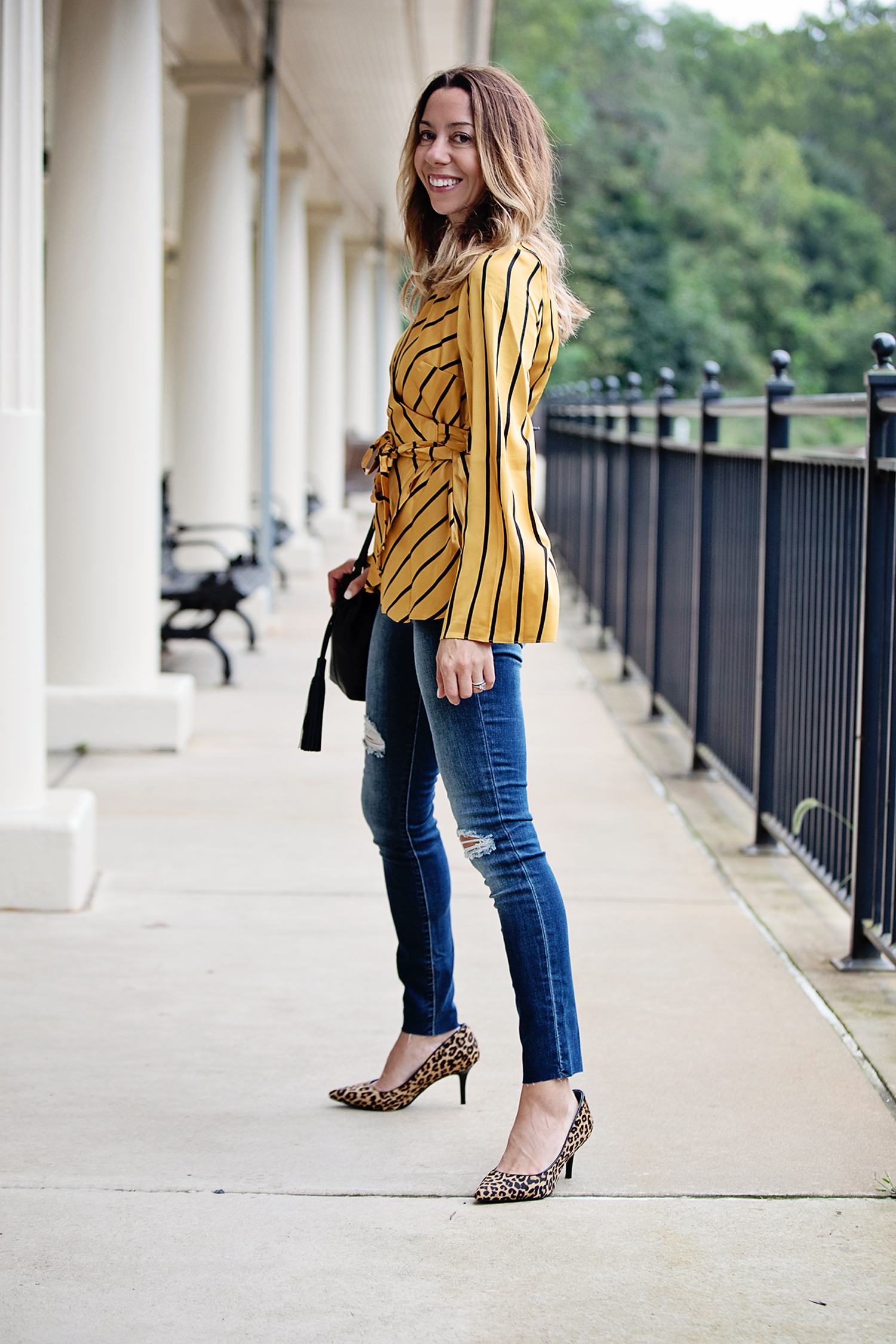 The motherchic wearing fall date night outfit from Macy's