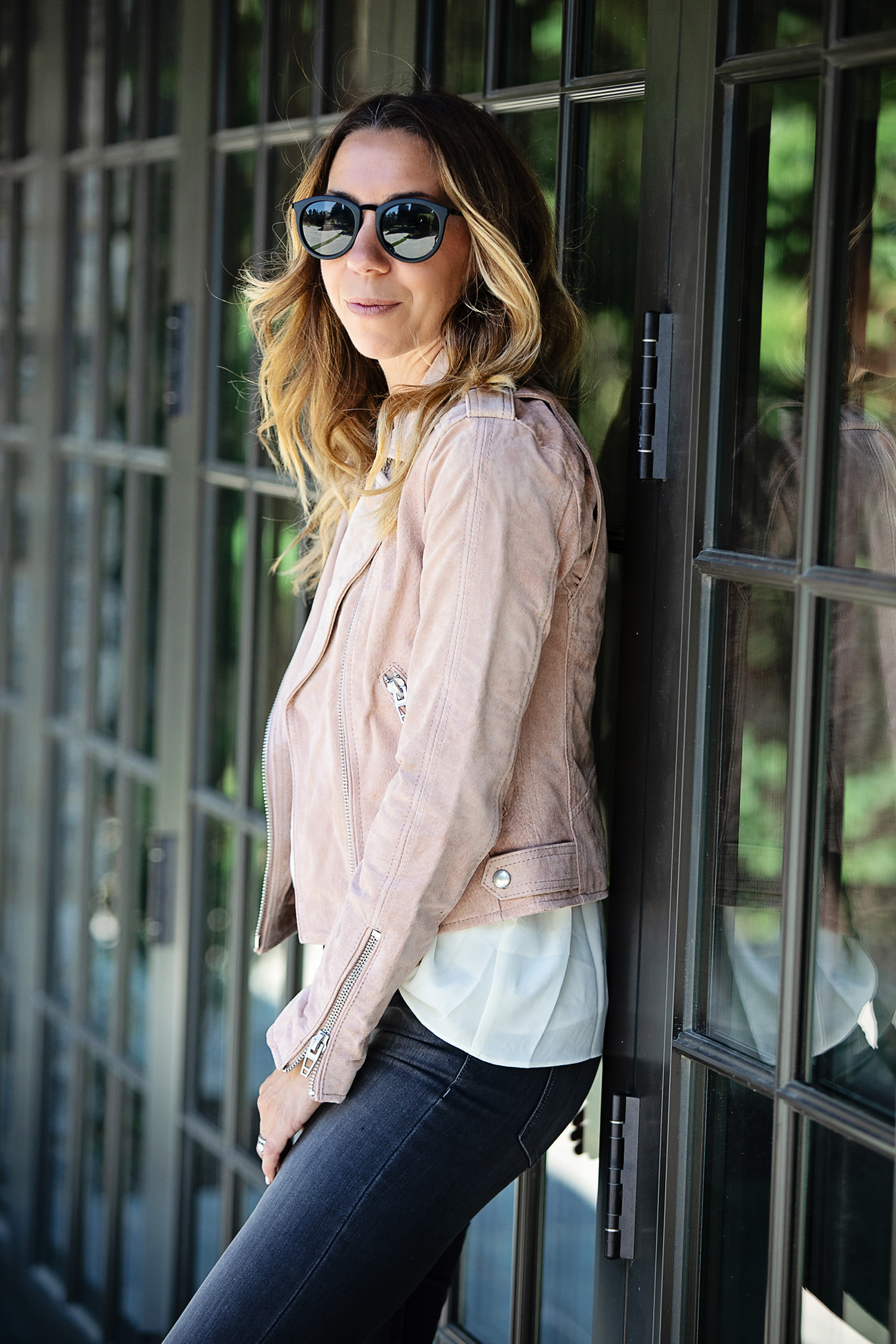 The Motherchic wearing blanknyc suede moto jacket