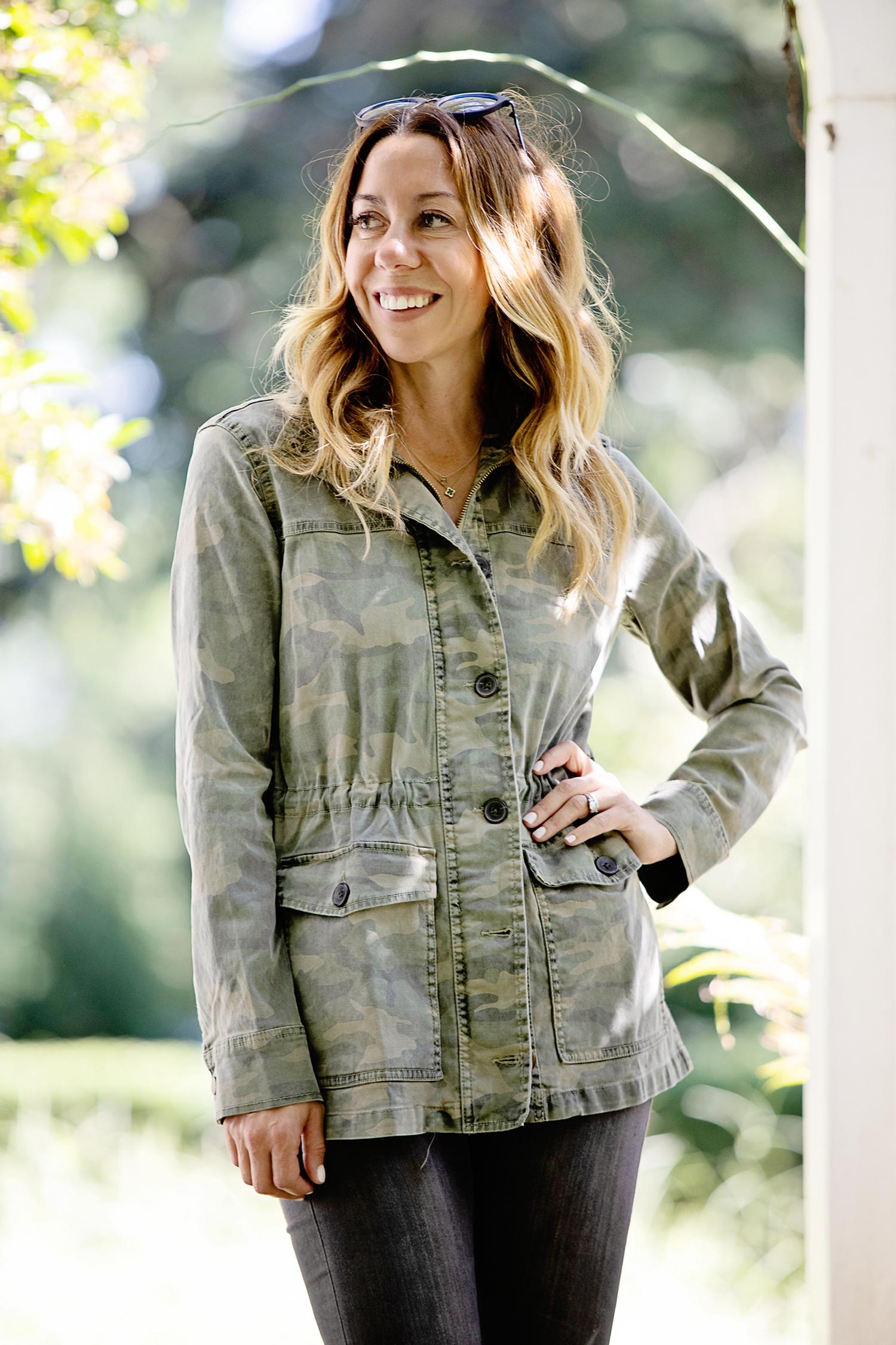 The Motherchic wearing camo utility jacket