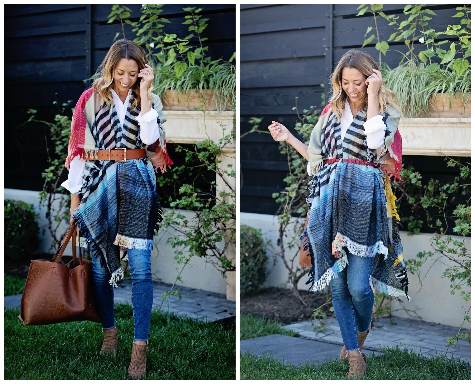 the motherchic wearing belted poncho and jeans