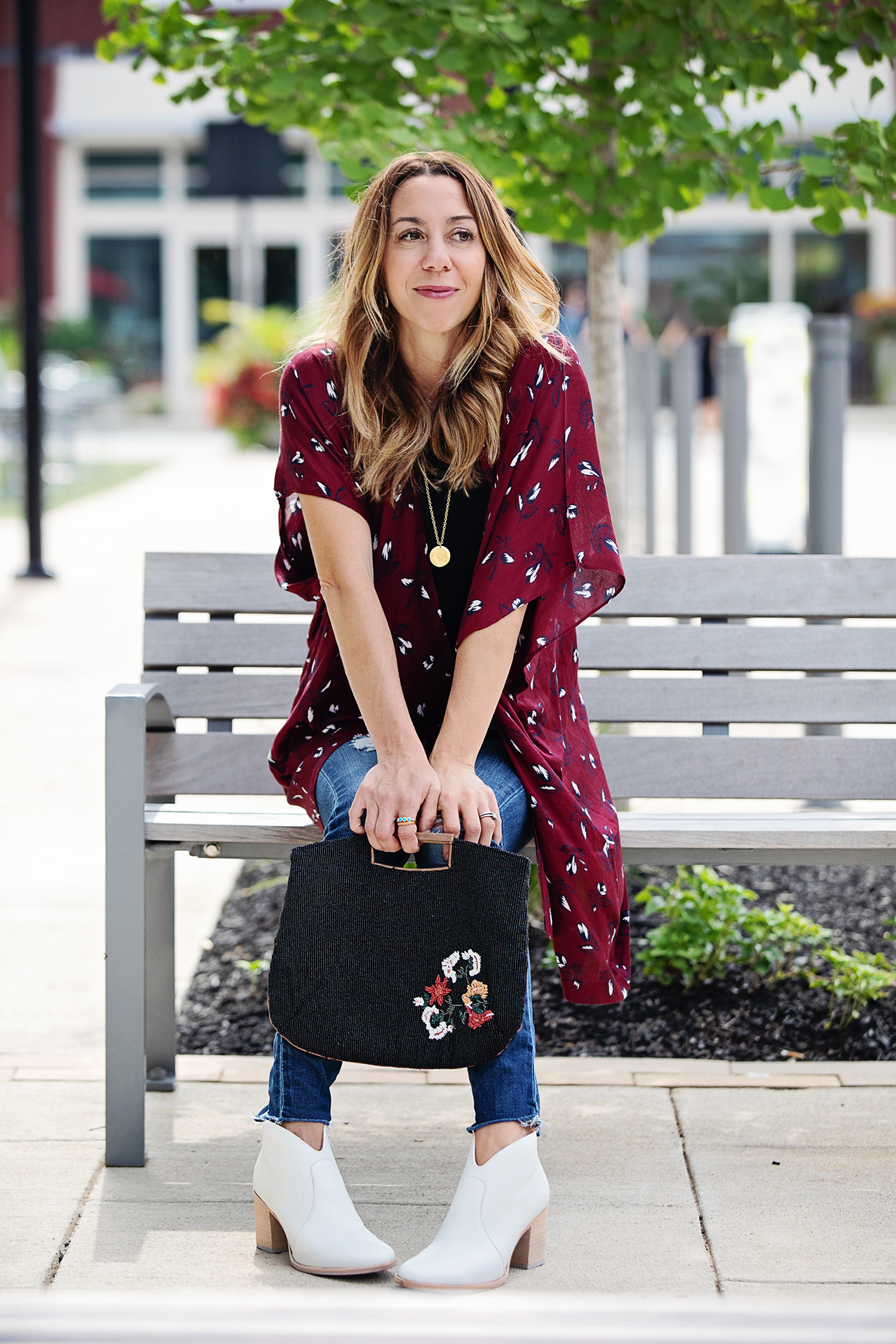 The Motherchic wearing loft kimono