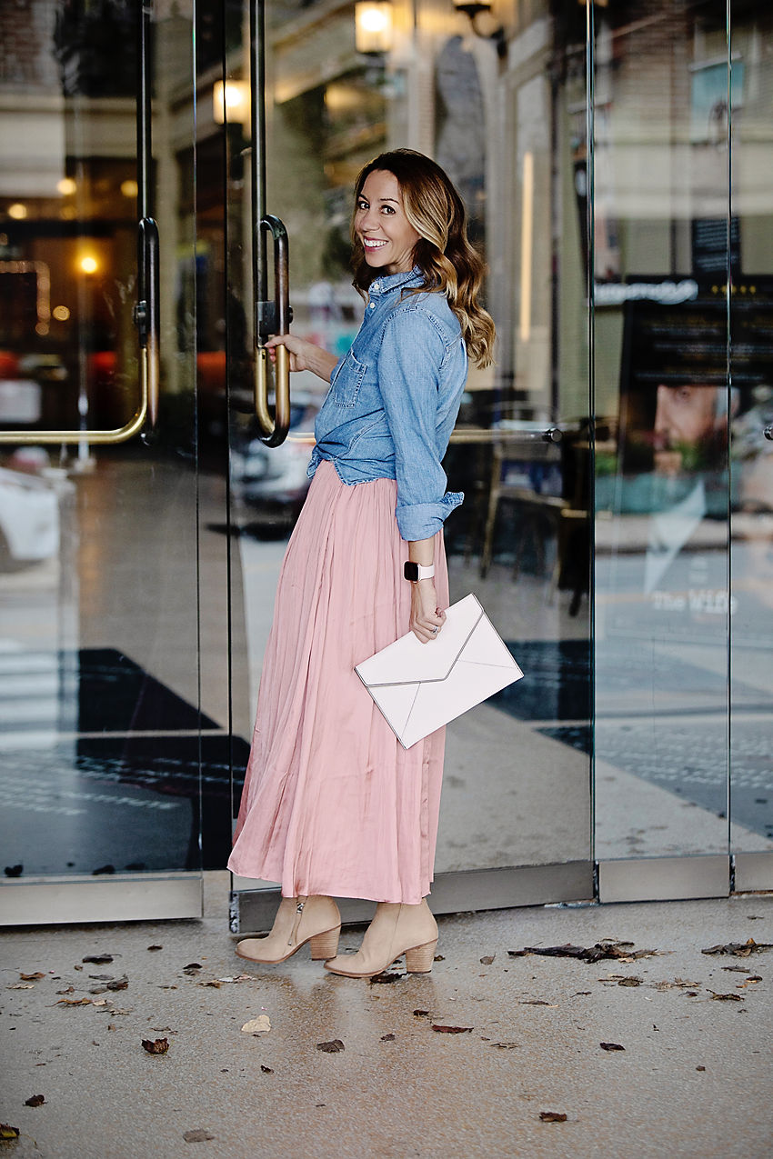 729ec7eff9 The motherchic wearing j.crew point sur crinkle skirt and chambray