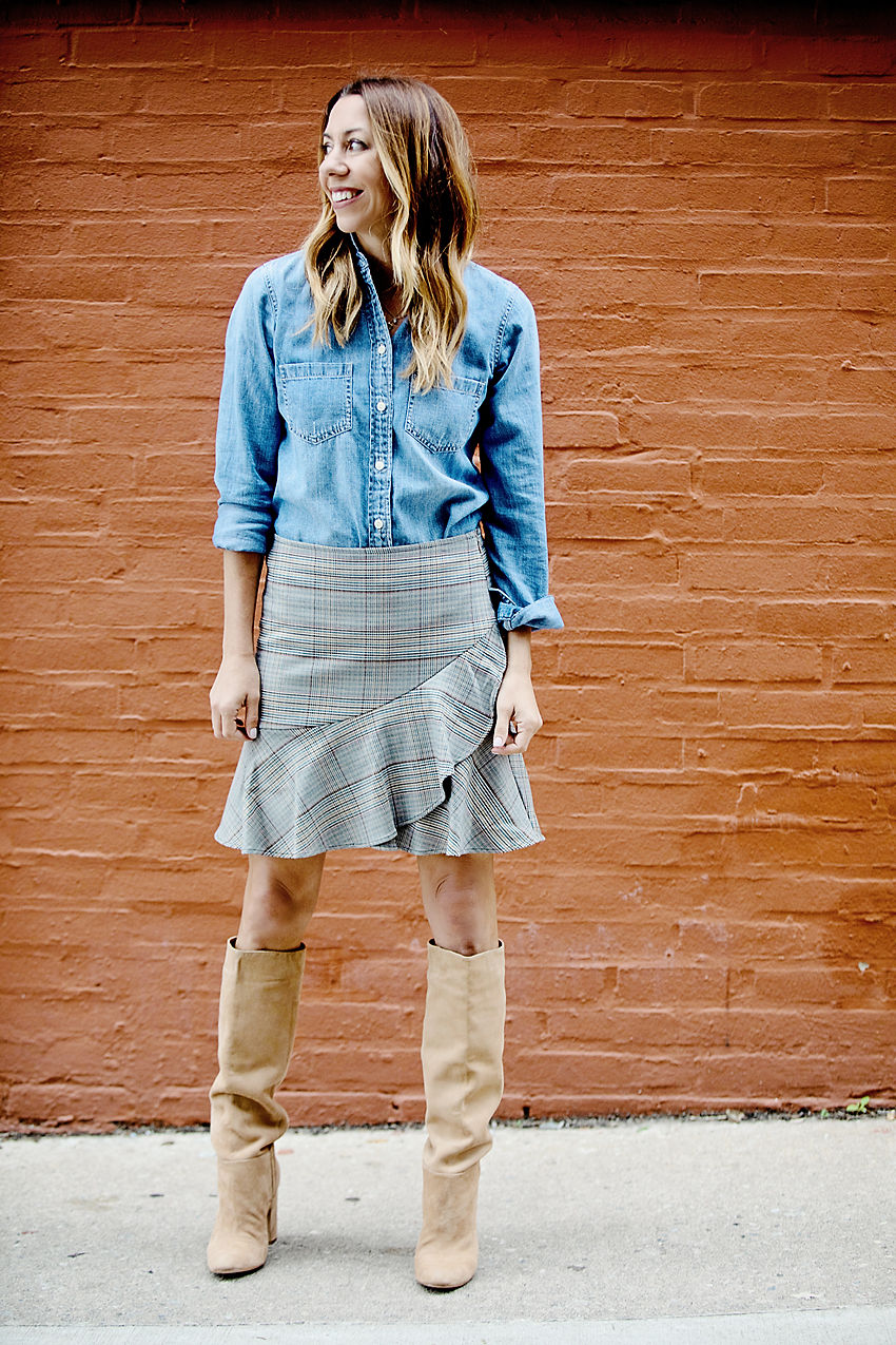 the motherchic chamnbray and skirt