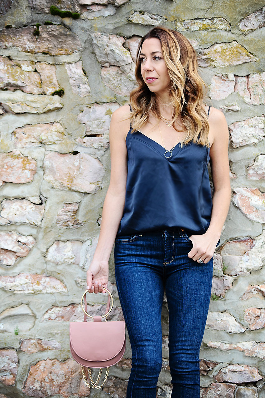 The Motherchic wearing gibson satin camisole from Nordstrom