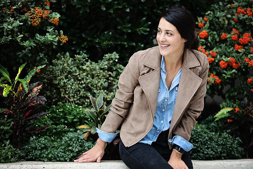 the motherchic chambray and leather jacket