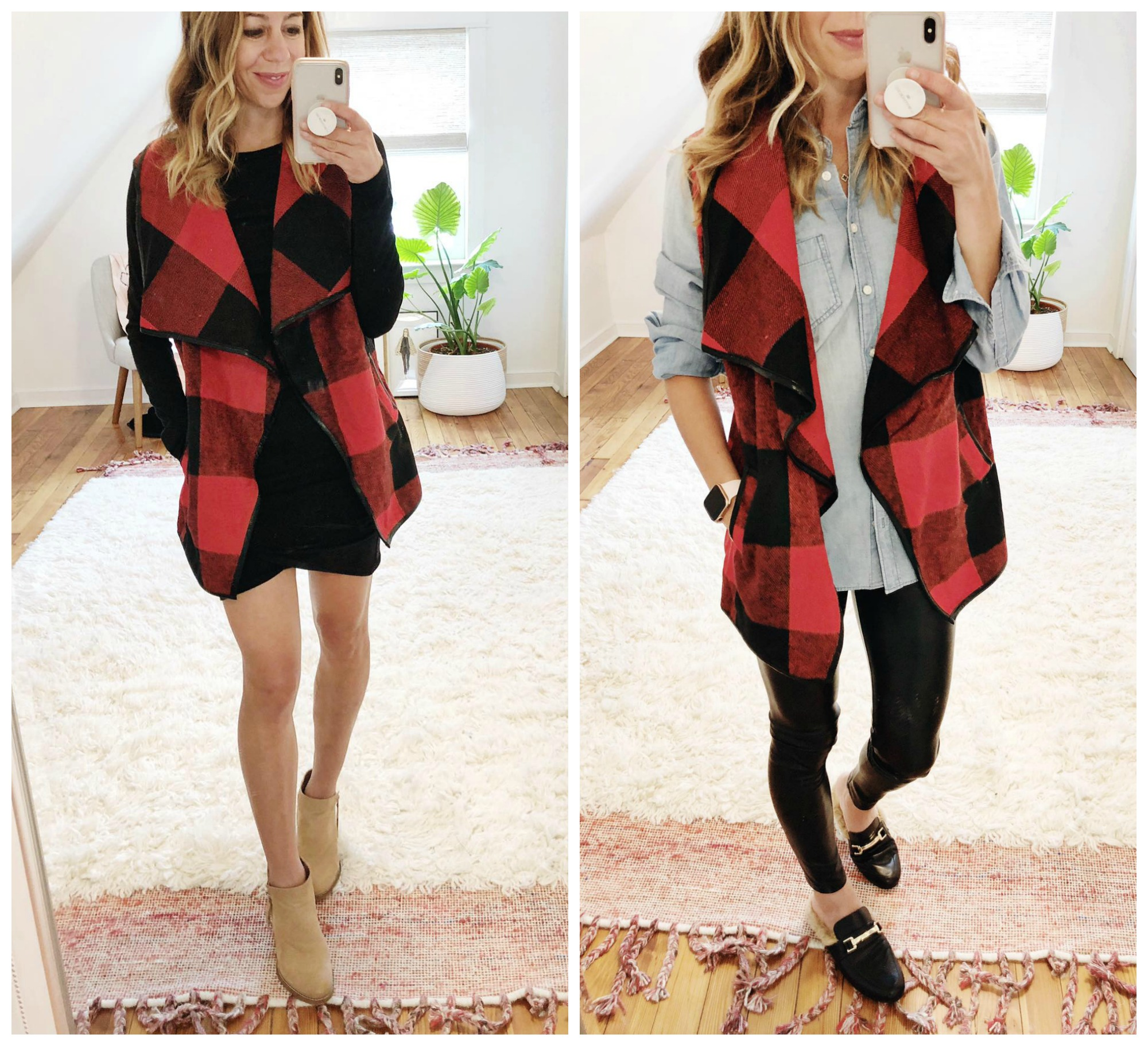 the motherchic wearing plaid vest leith dress and leather leggings